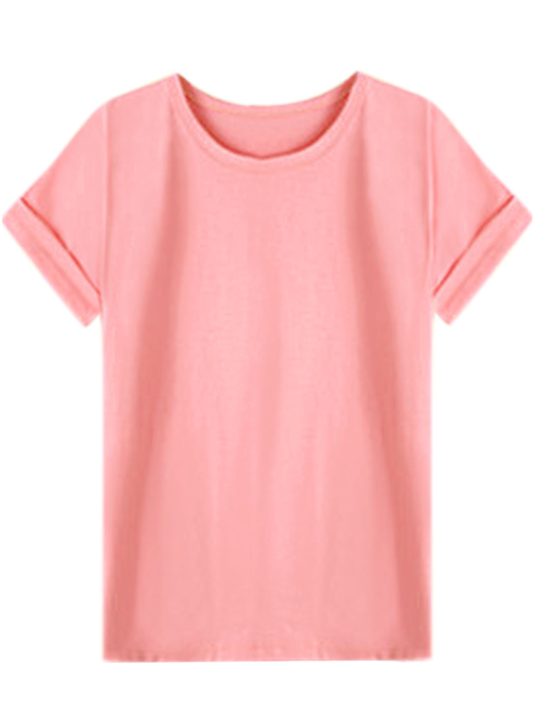 Women Short Sleeve Round Neck Loose Fit Casual T-Shirt Pink XS