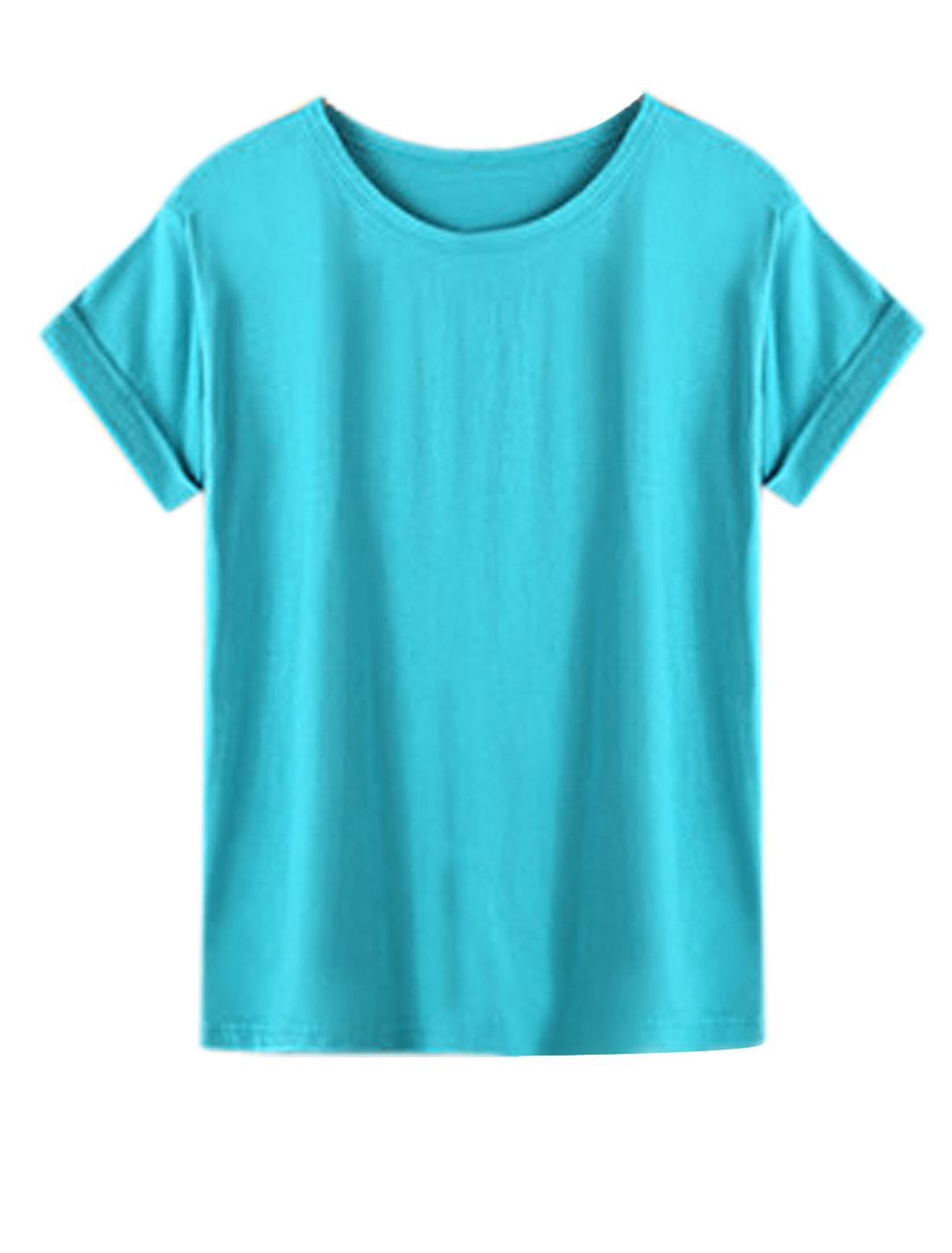 Women Slipover Short Sleeve Round Neck Summer Leisure T Shirt Aqua XS