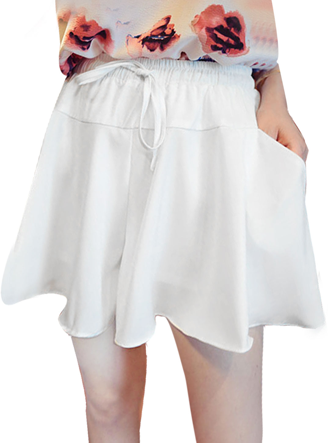 Ladies Mid Rise Elastic Waist Pockets Fully Lined Casual Summer Skort White XS