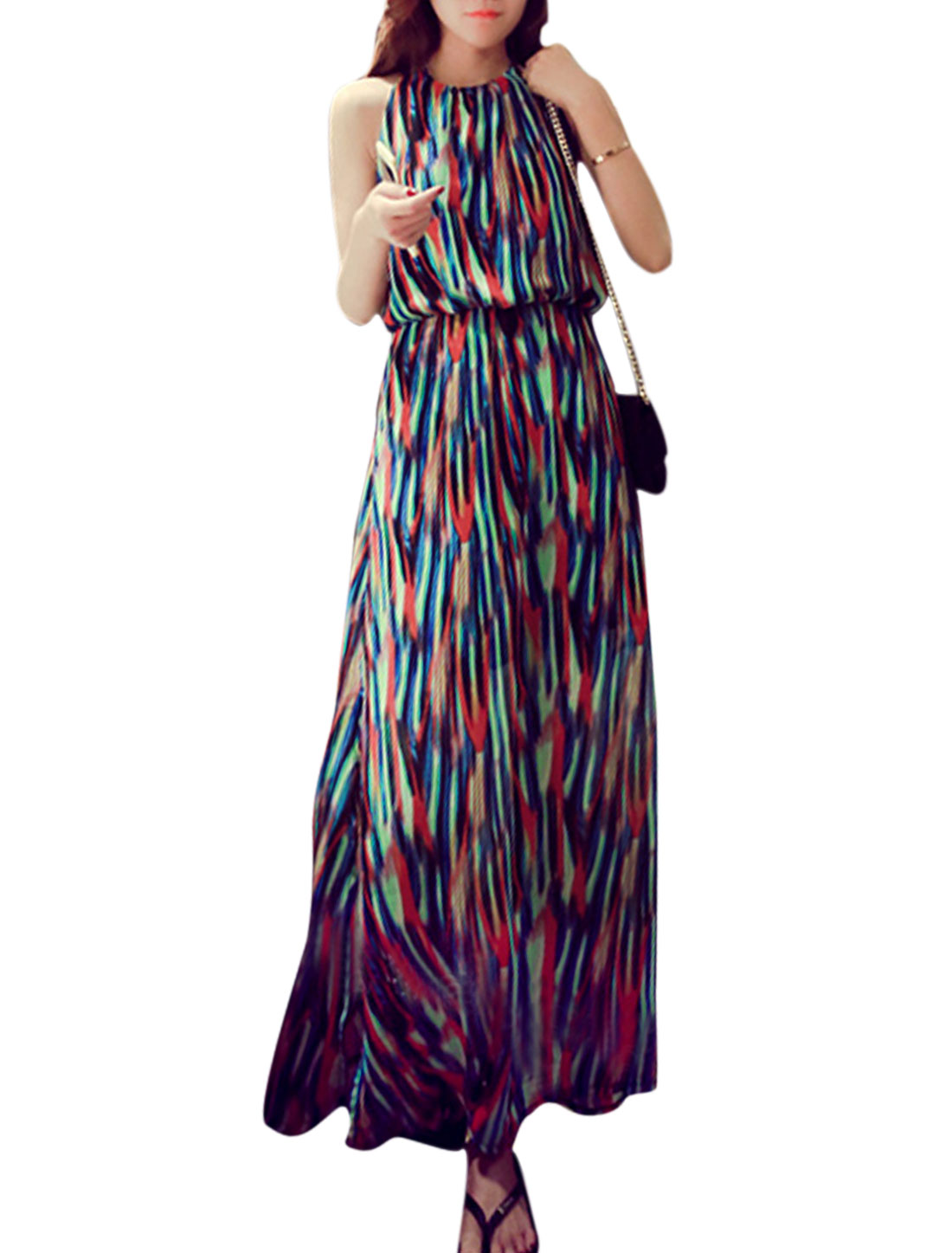 Women Sleeveless Round Neck Novelty Print Maxi Dress Royal Blue Red S