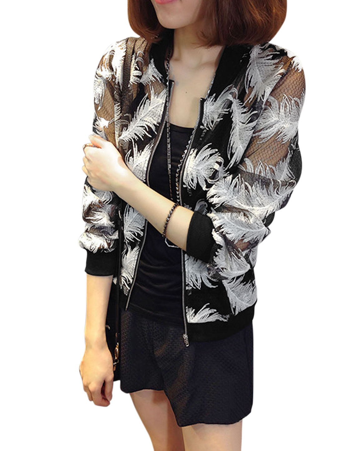 Women Stand Collar Feather Stitching Full Zip Basic Jacket Black XS