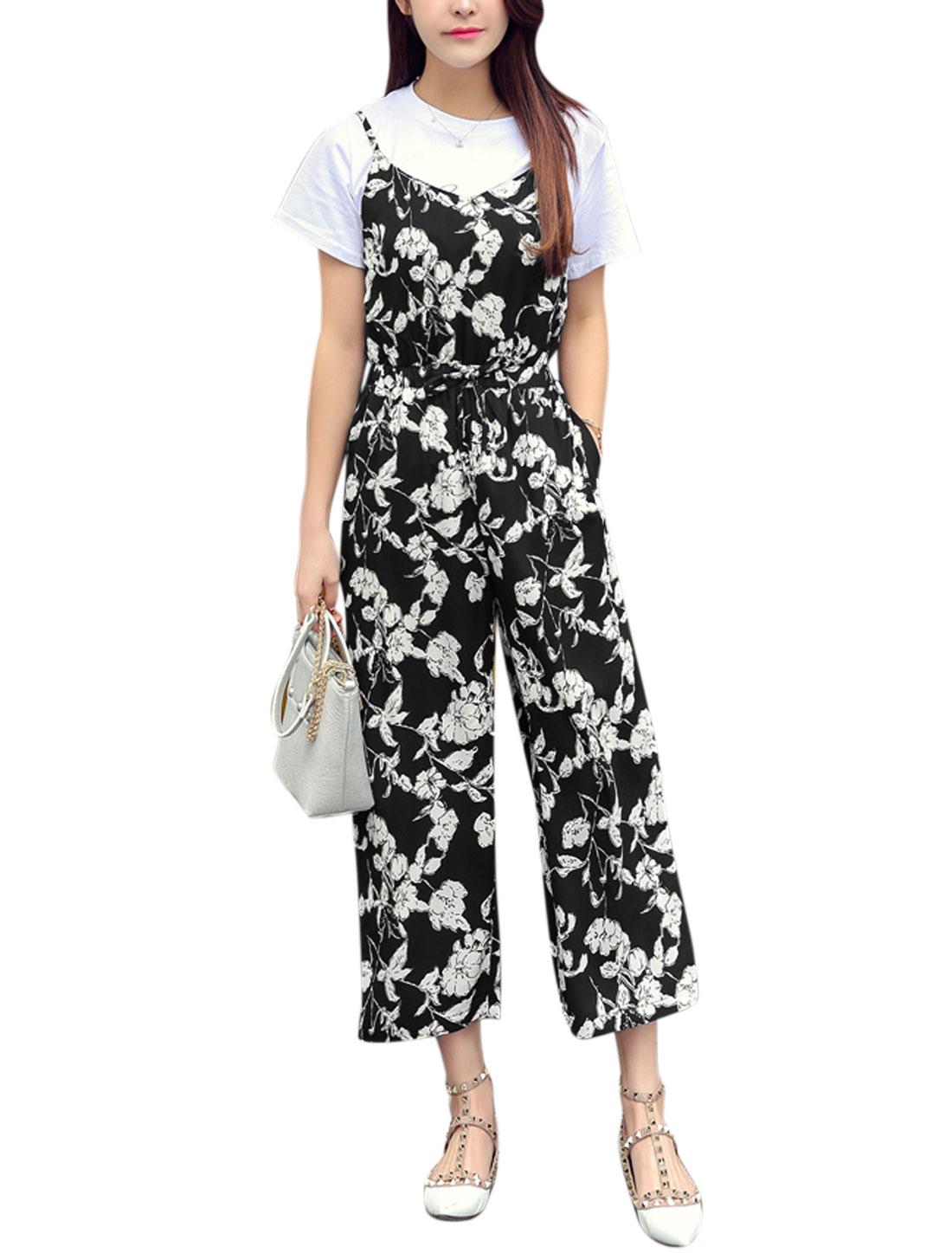 Women Scoop Neck Sleeveless Floral Prints Wide Leg Jumpsuit Black XS