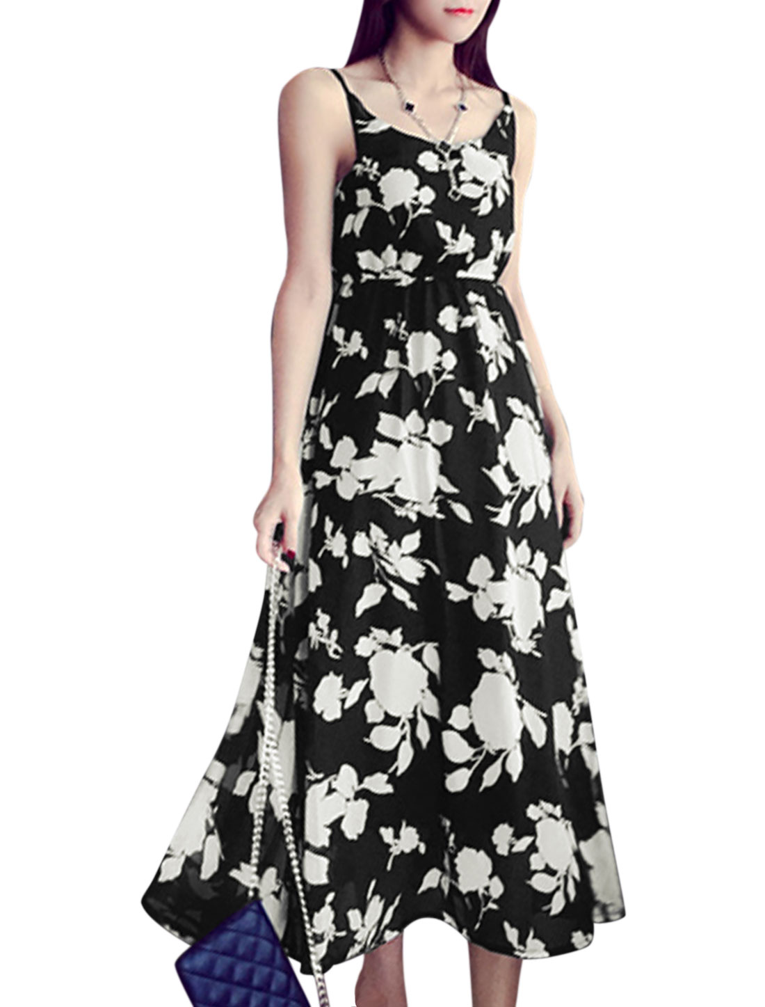 Women Floral Prints Sleeveless Elastic Waist Midi Dress Black XS