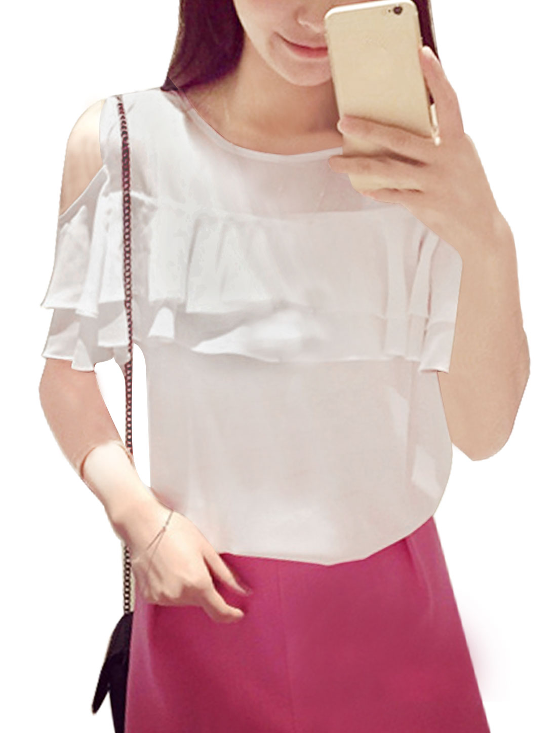 Ladies Round Neck Short Sleeves Flouncing Upper Chiffon Tops White XS