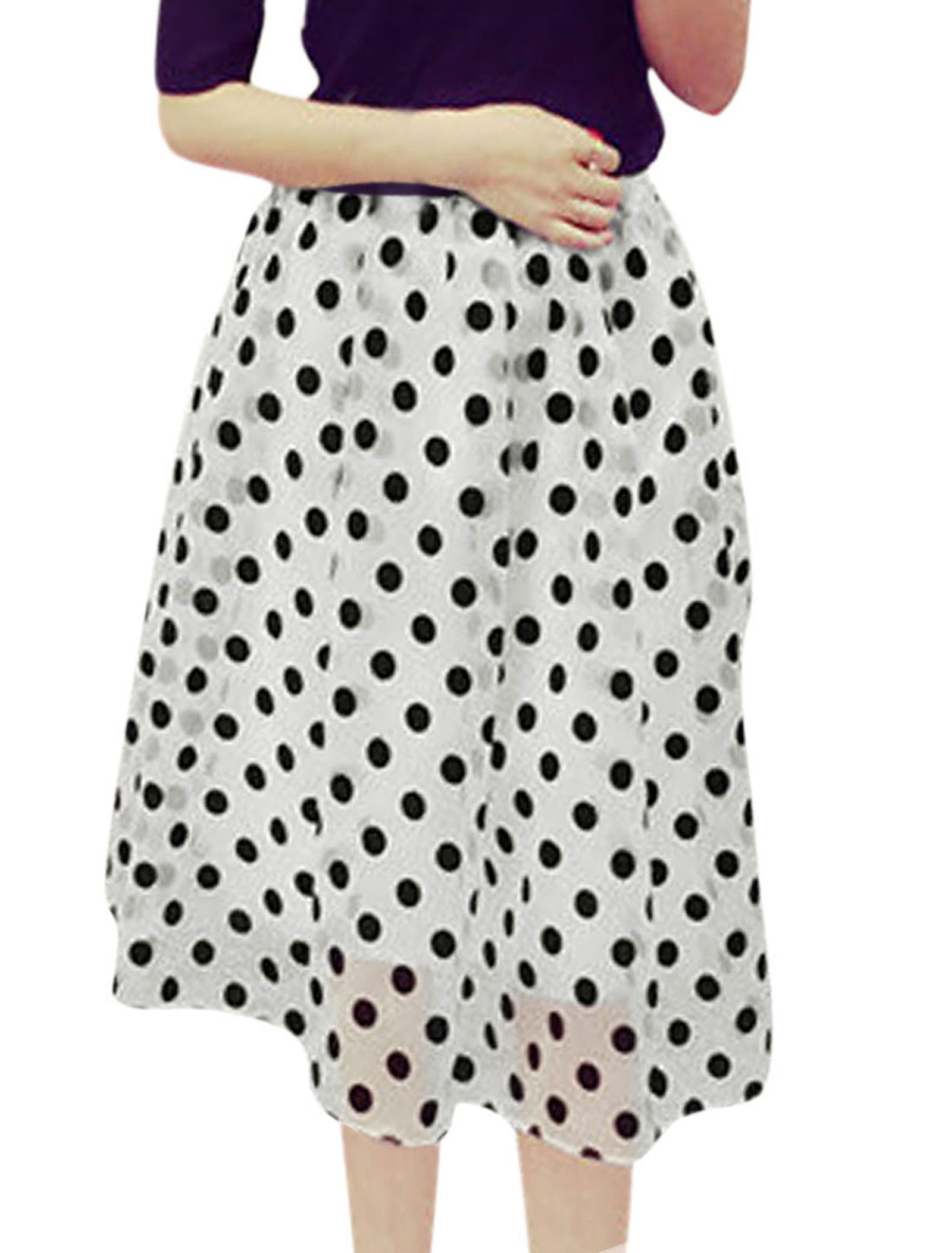 Lady Polka Dots Pattern Stretchy Waist Fully Lined Organza Skirt White XS