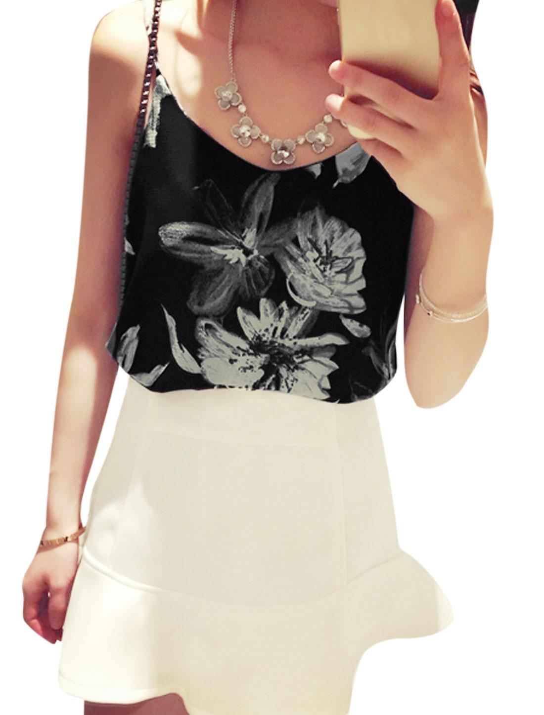 Ladies Spaghetti Strap Floral Print Texture Casual Tops Black XS