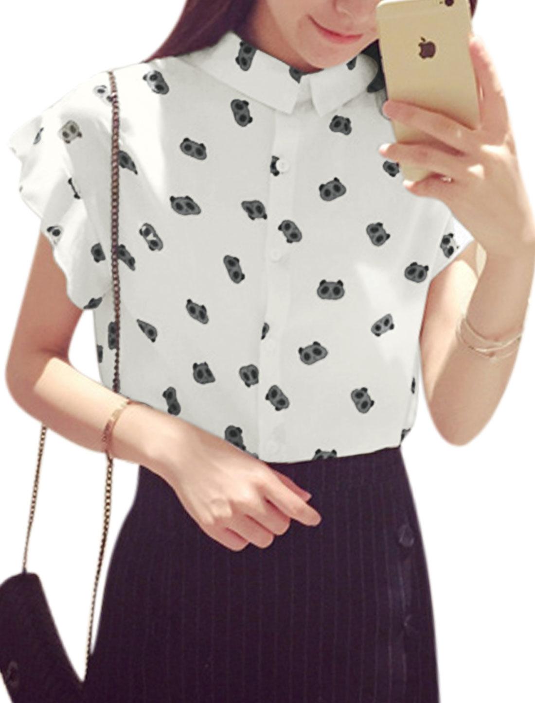 Woman Panda Pattern Turn Down Collar Short Sleeves Chiffon Shirt White XS