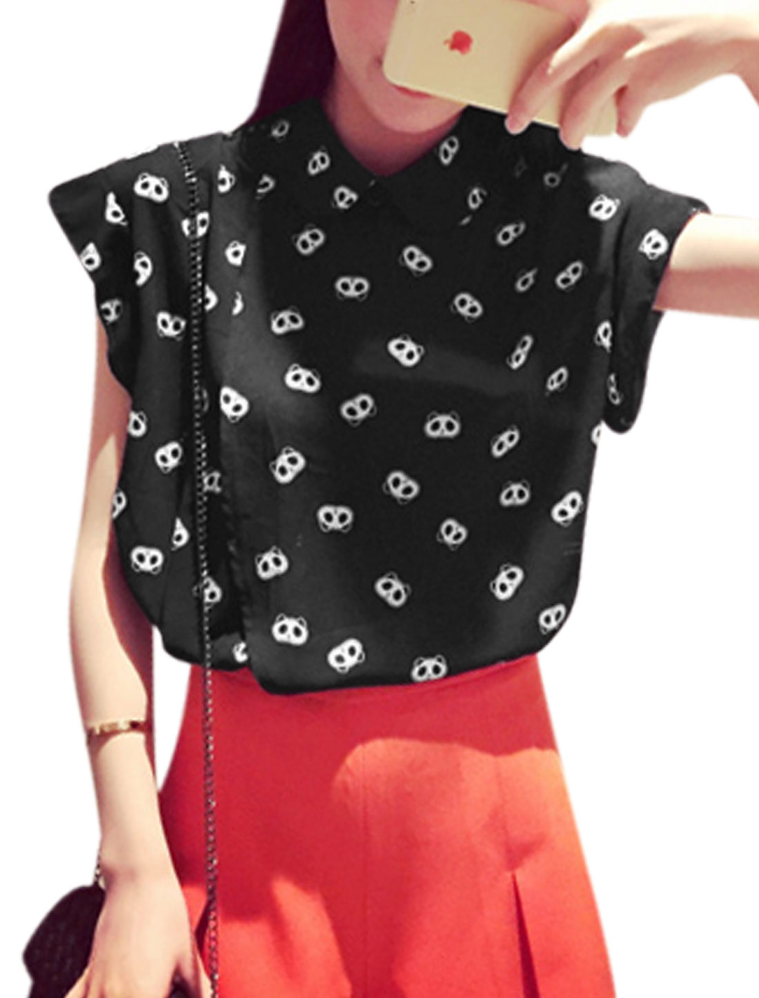 Woman Panda Pattern Turn Down Collar Casual Chiffon Shirt Black XS