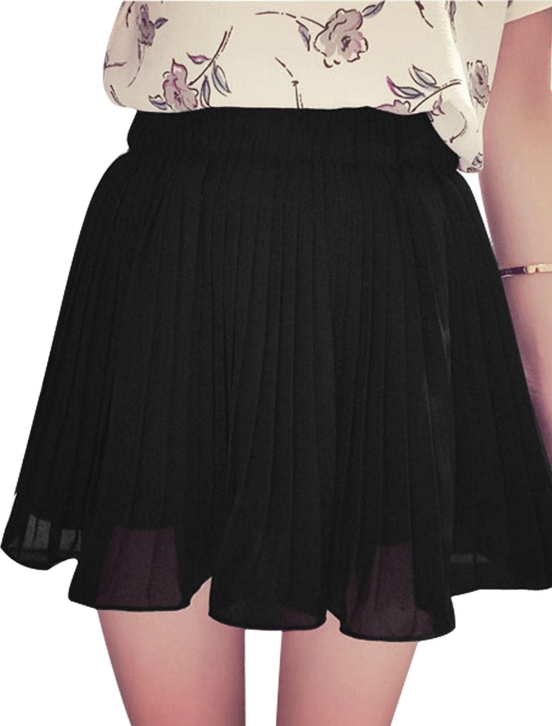 Women Elastic Waist Mid Rise Pleated Casual Chiffon Skorts Black XS
