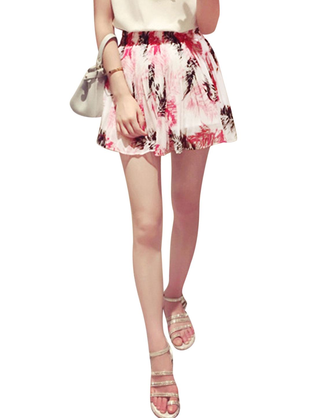 Woman Elastic Waist Pleated Mini Chiffon Skort Multicolor XS