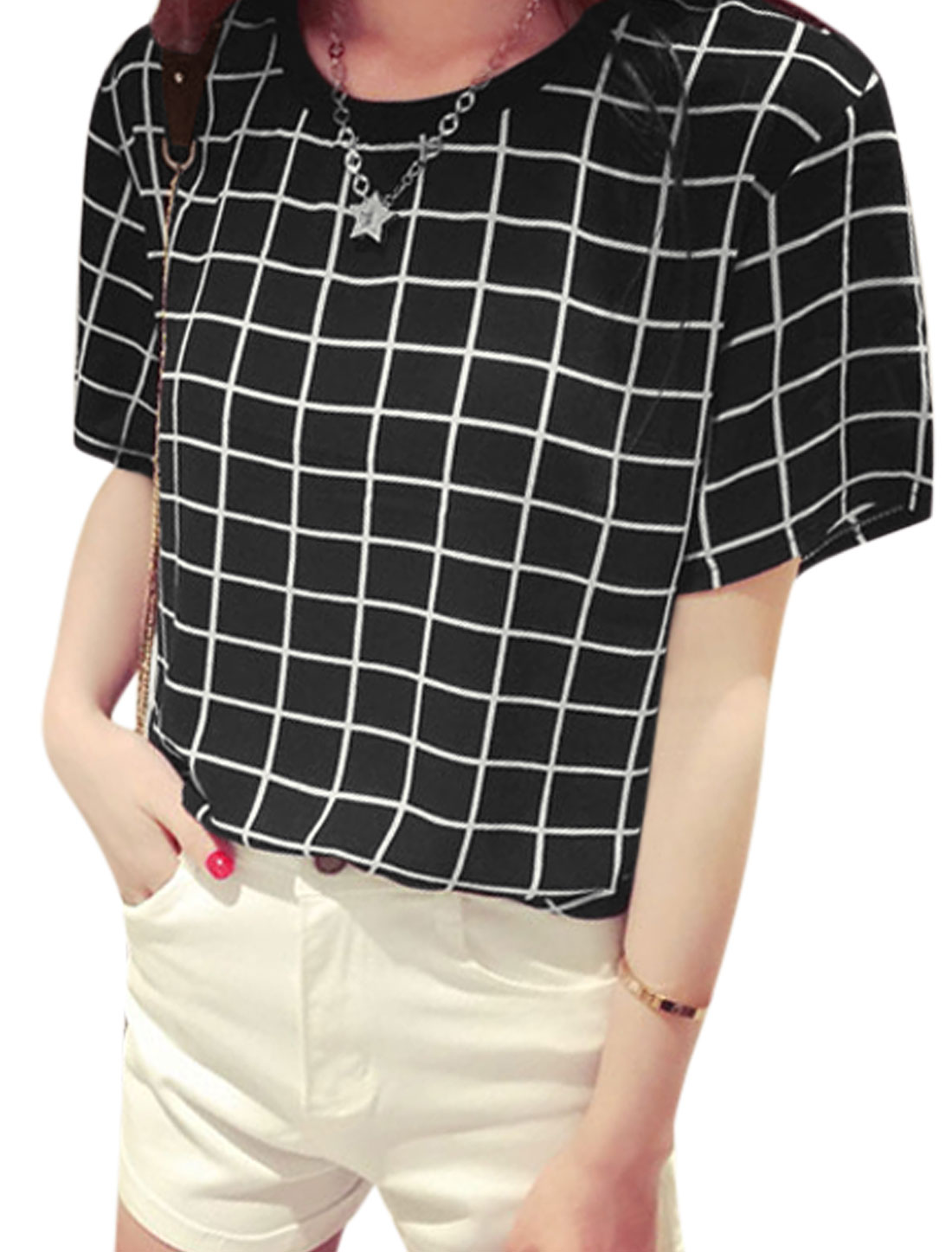 Woman Checks Ribbed Round Neck Short Sleeves Slipover Chiffon Top Black XS