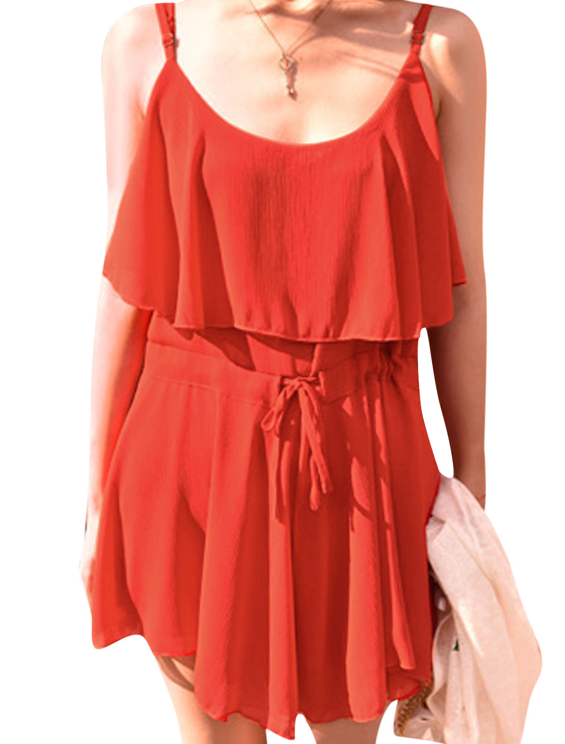 Women Scoop Neck Sleeveless Overlay Chiffon Rompers Orange Red XS