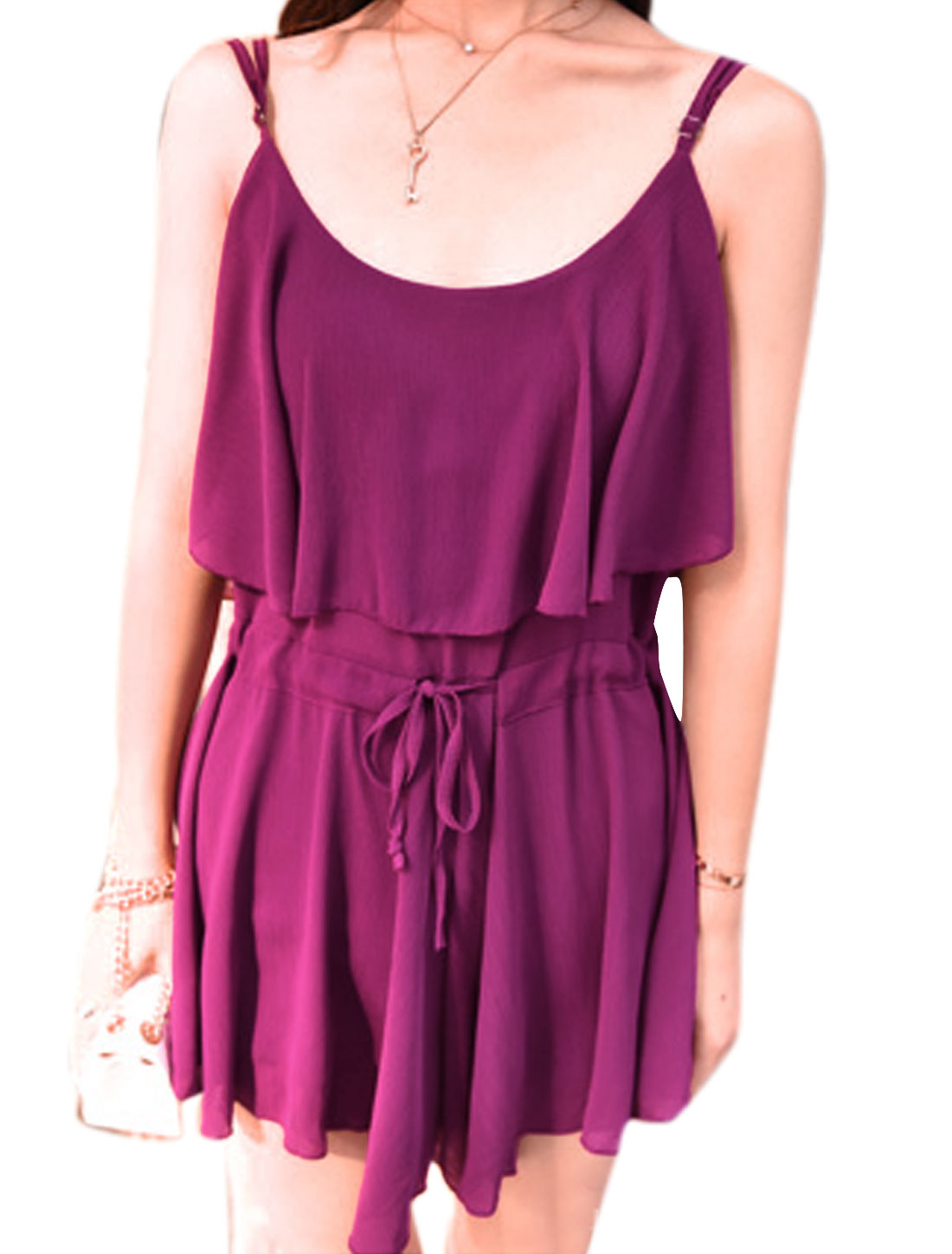 Women Scoop Neck Sleeveless Adjustable Straps Chiffon Rompers Purple XS