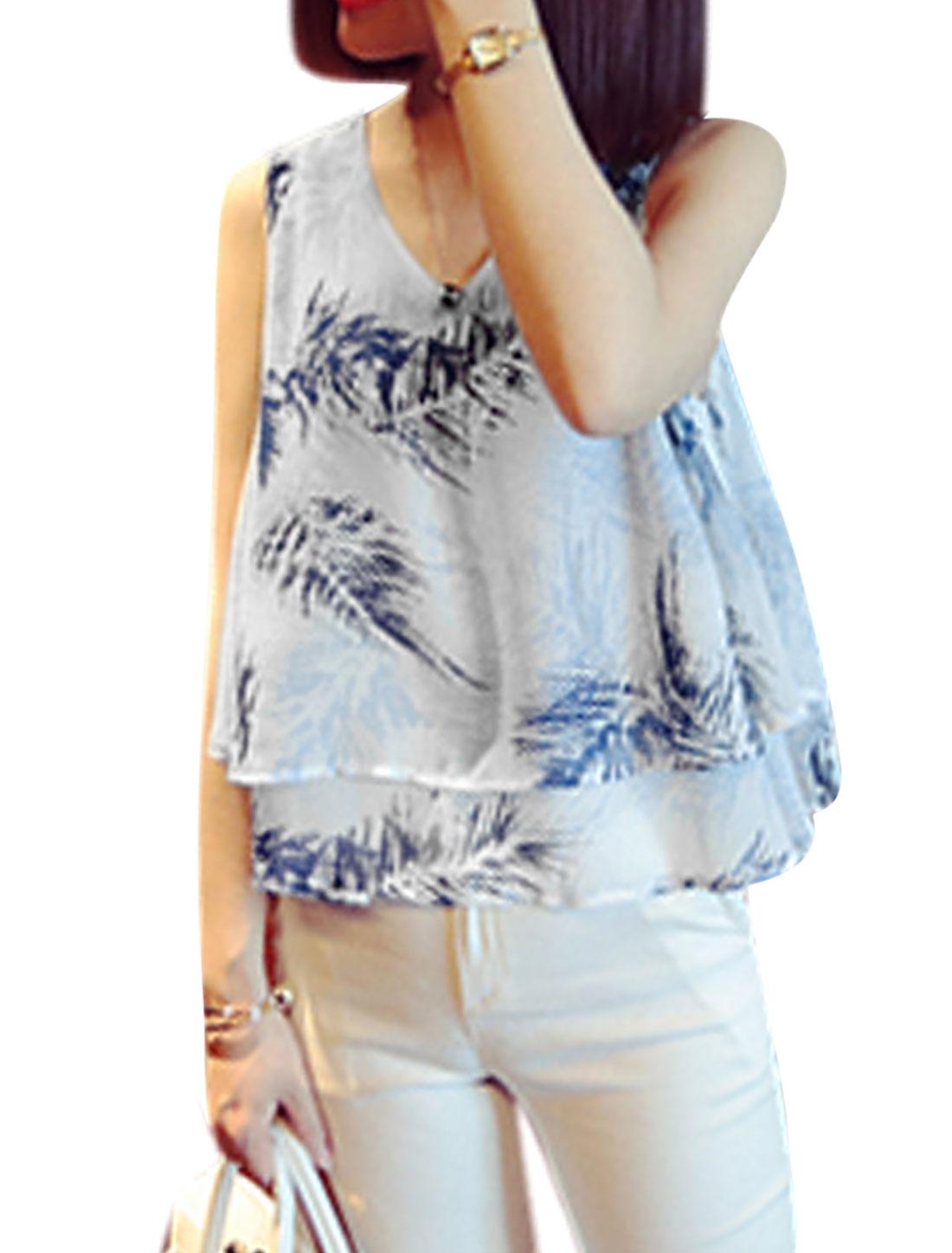Woman Leaves Prints V Neck Sleeveless Layered Hem Chiffon Top Blue White XS