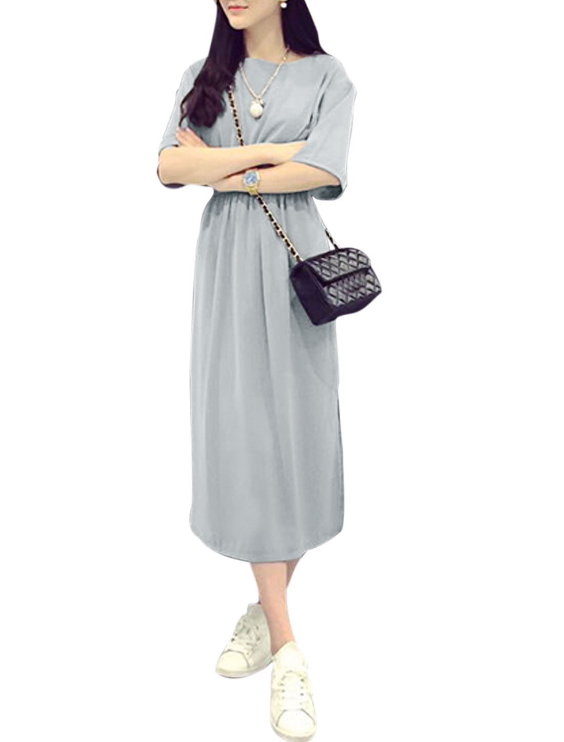 Woman Round Neck Half Length Sleeves Split Sides Dress Gray S
