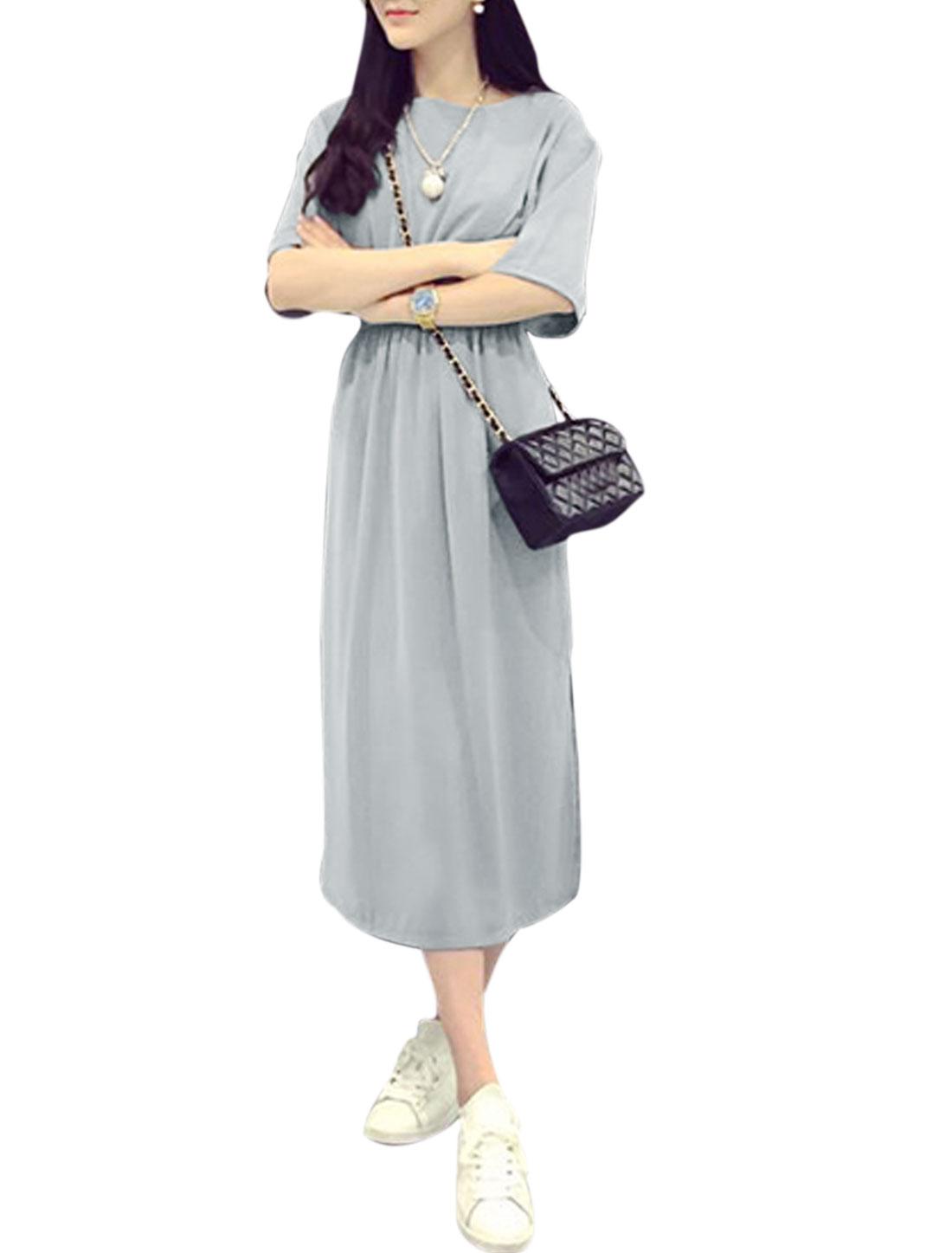 Woman Round Neck Half Length Sleeves Split Sides Dress Gray S