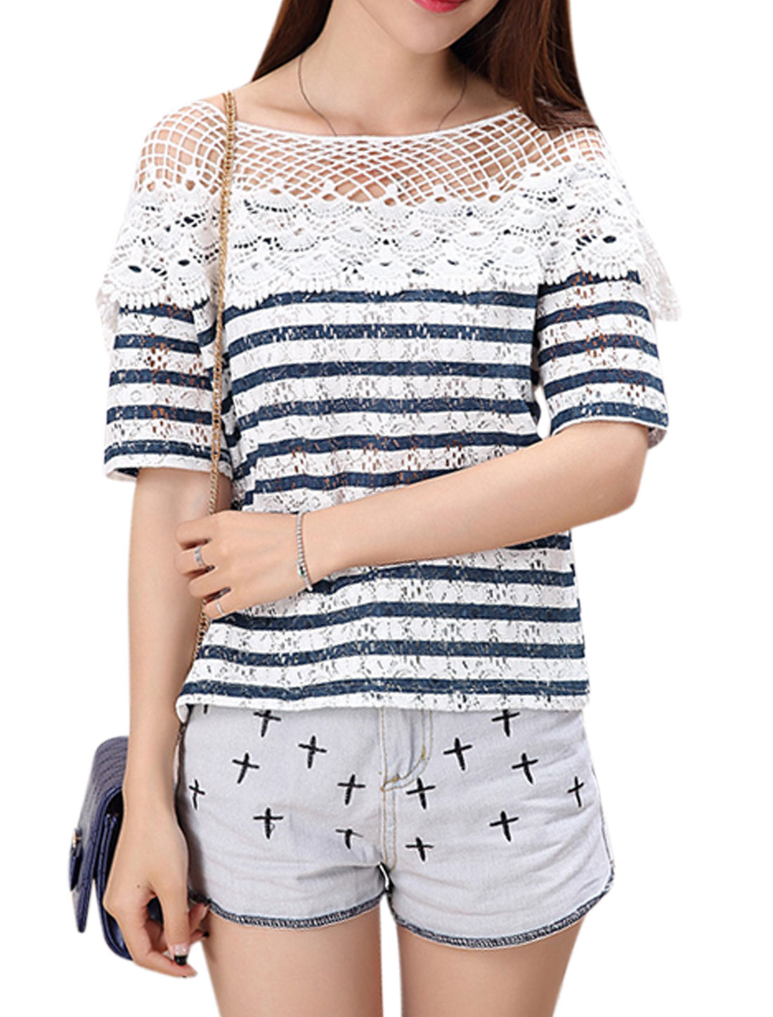 Woman Stripes Hollow Out Crochet Design Elbow Sleeves Lace Blouse Off White Dark Blue XS