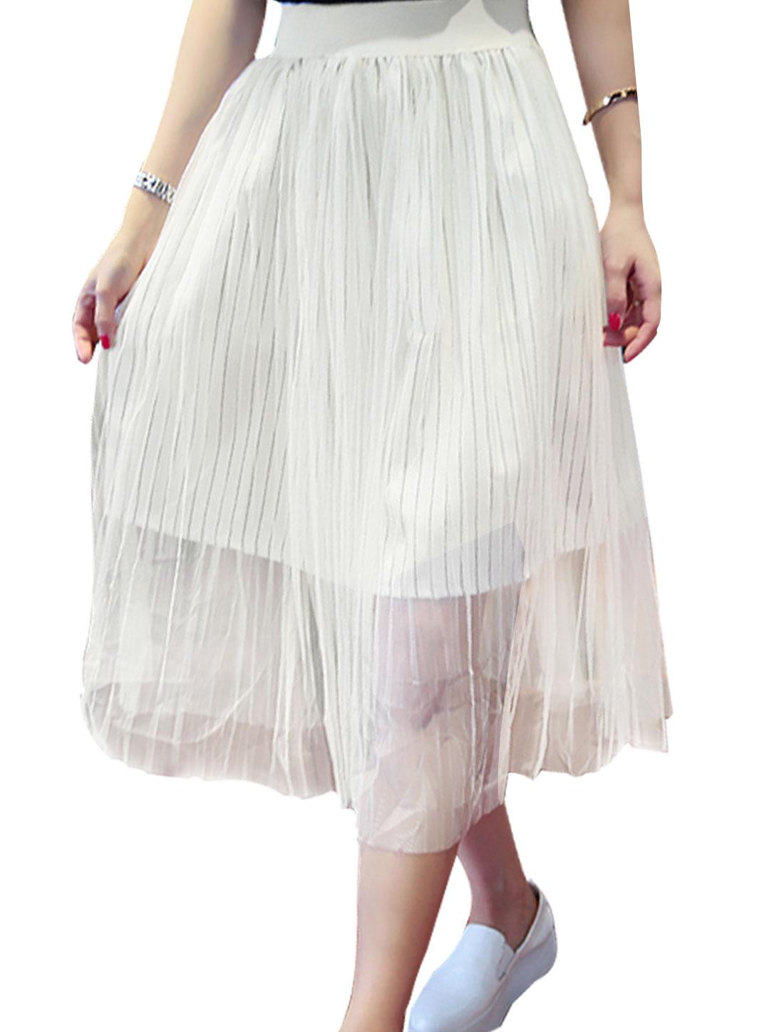 Women Mid Rise Elastic Waist Fully Lined Leisure Mesh Skirts White M