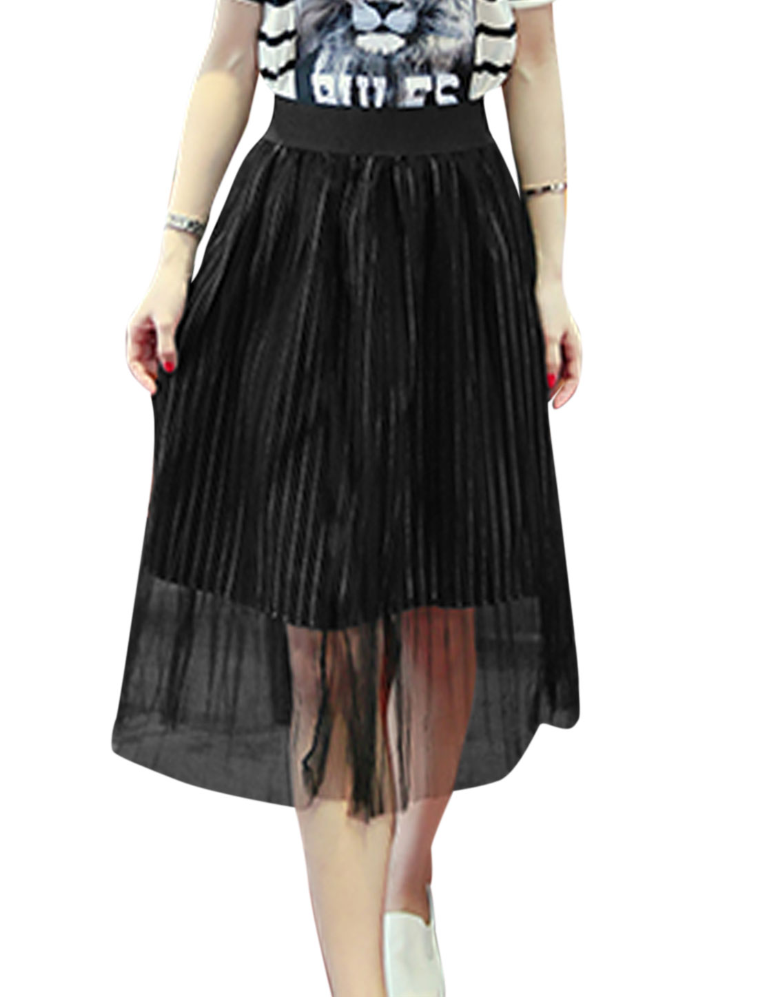 Women Mid Rise Elastic Waist Fully Lined Summer Casual Mesh Skirts Black M