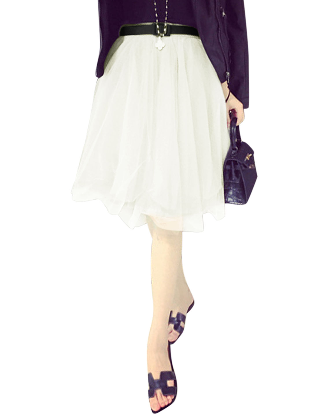 Ladies Mid Rise Elastic Waist Belted Leisure Mesh Skirt White M