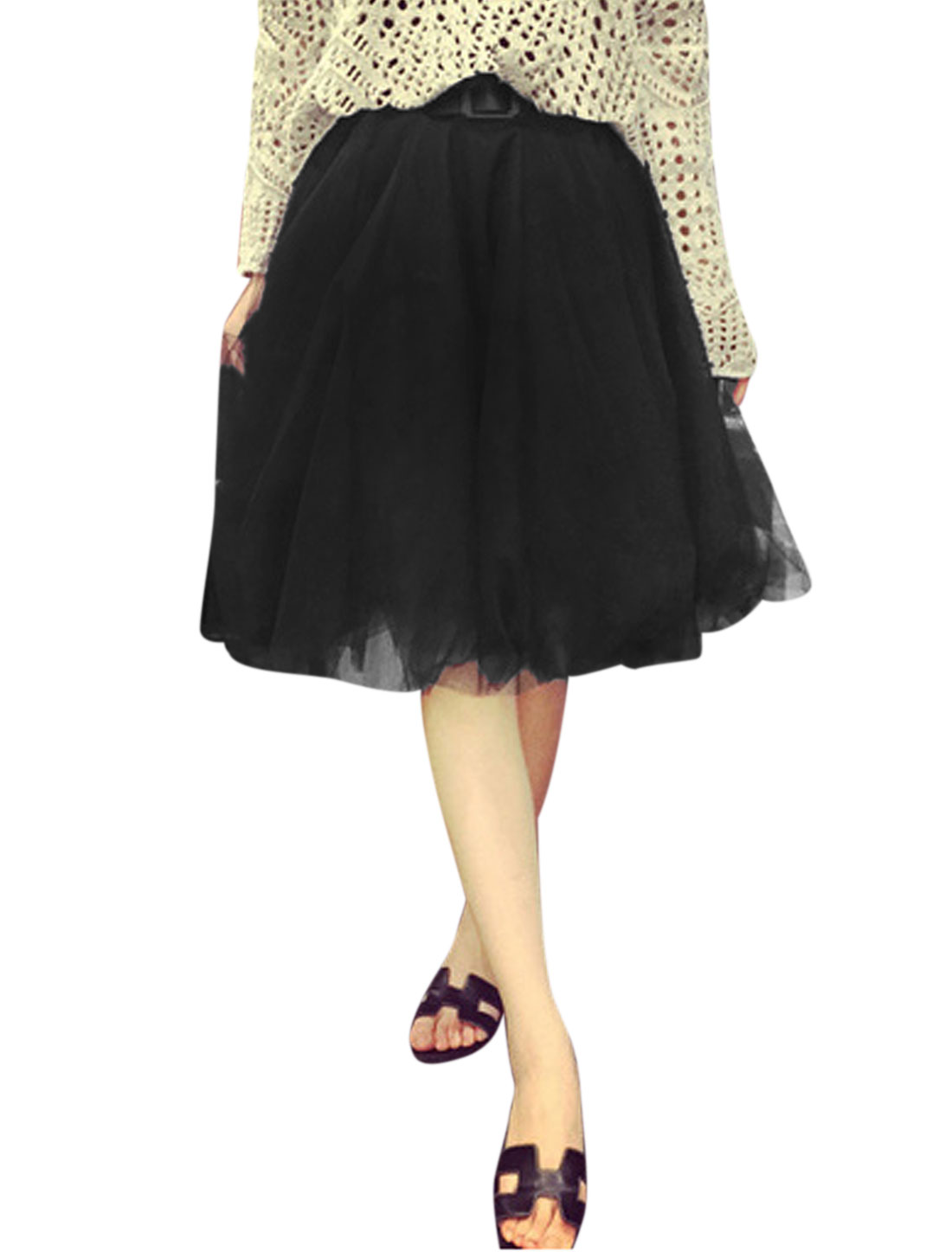 Women Mid Waist Belted Fully Lined Casual Summer Mesh Skirts Black M