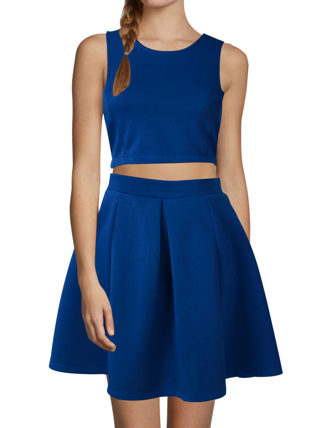 Women Sleeveless Zipper Back Cropped Tops w Pleated Unlined Skirts Sets Blue S