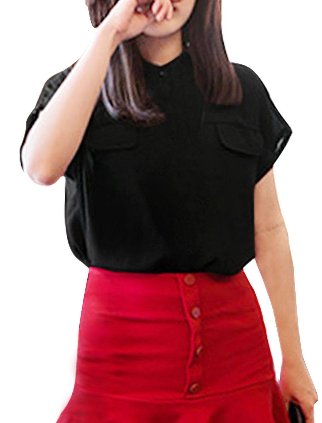 Women Batwing Sleeve Stand Collar Pockets Decor Button Up Casual Blouse Black XS