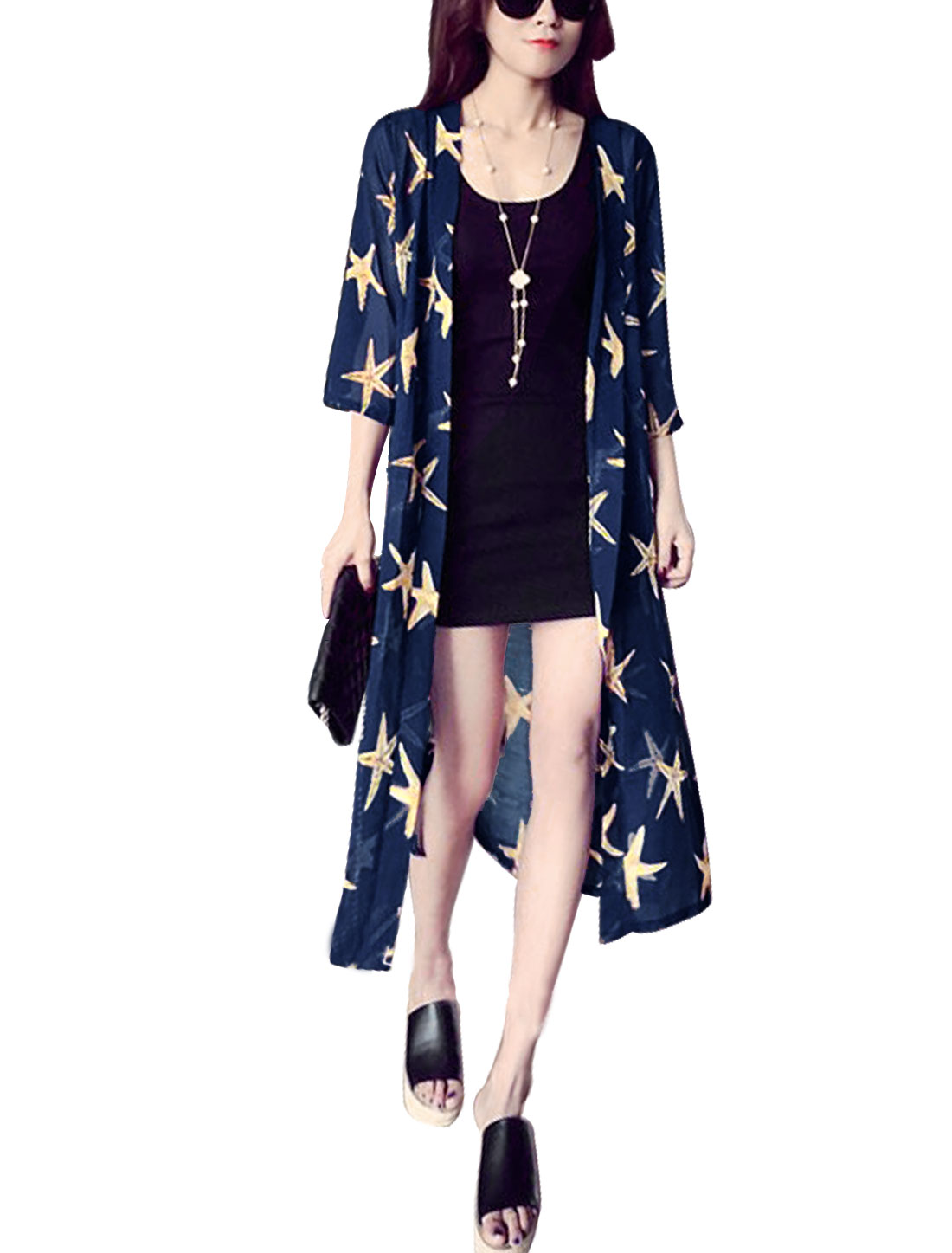 Women Front Opening Stars Print Longline Casual Cardigans Navy Blue XS