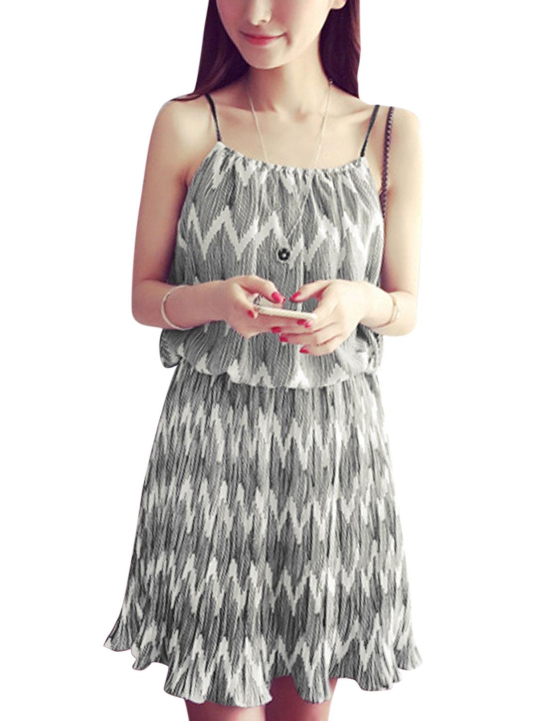 Women Zig-Zag Prints Sleeveless Elastic Waist Full Lined Casual Dress White XS
