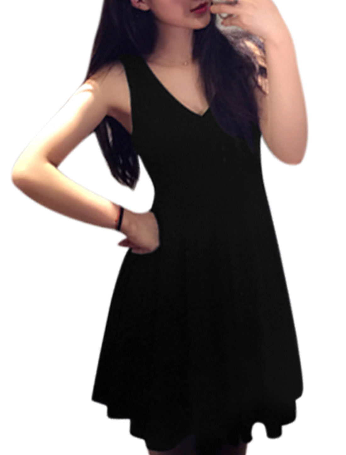 Women Sleeveless Deep V Neck Summer Casual Dresses Black M
