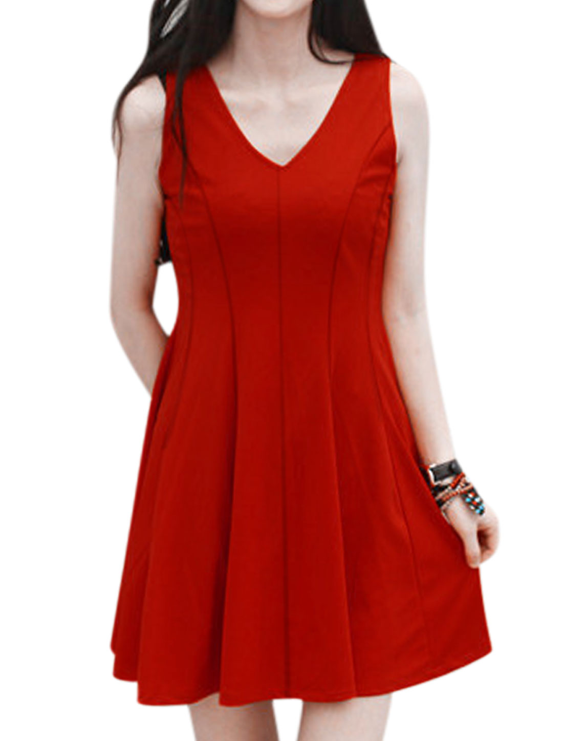 Women Sleeveless Deep V Neck Unlined Casual A Line Dress Red M