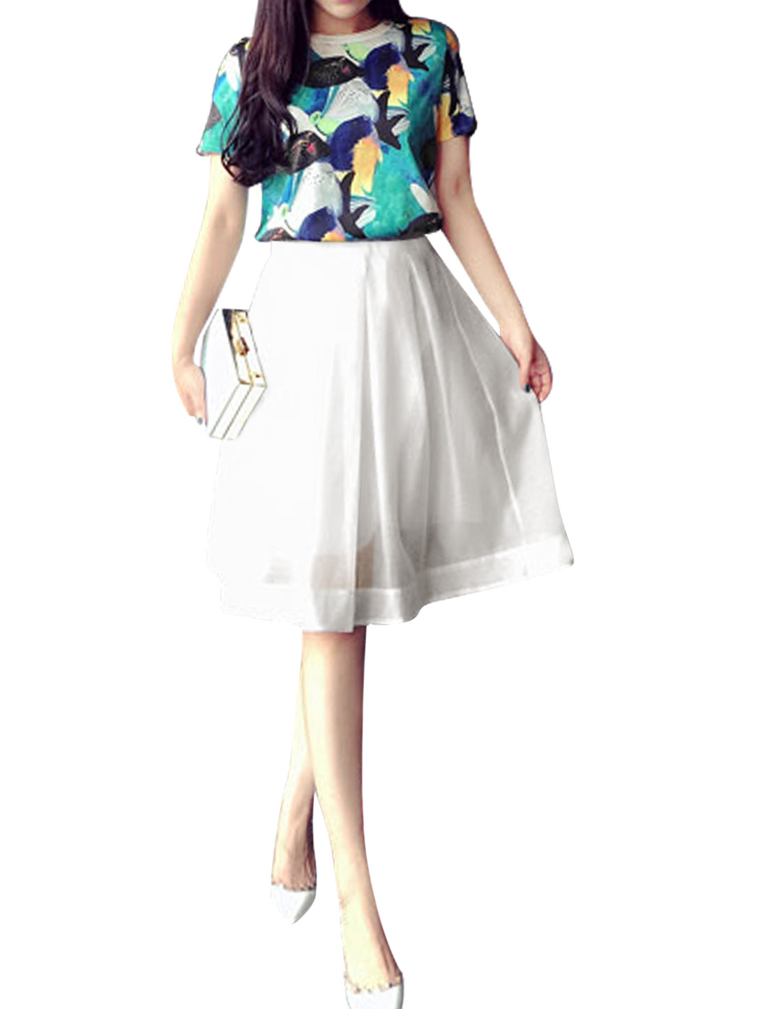 Woman Fish Pattern Short Sleeves Top w Fully Lined A Line Skirt Multicolor S