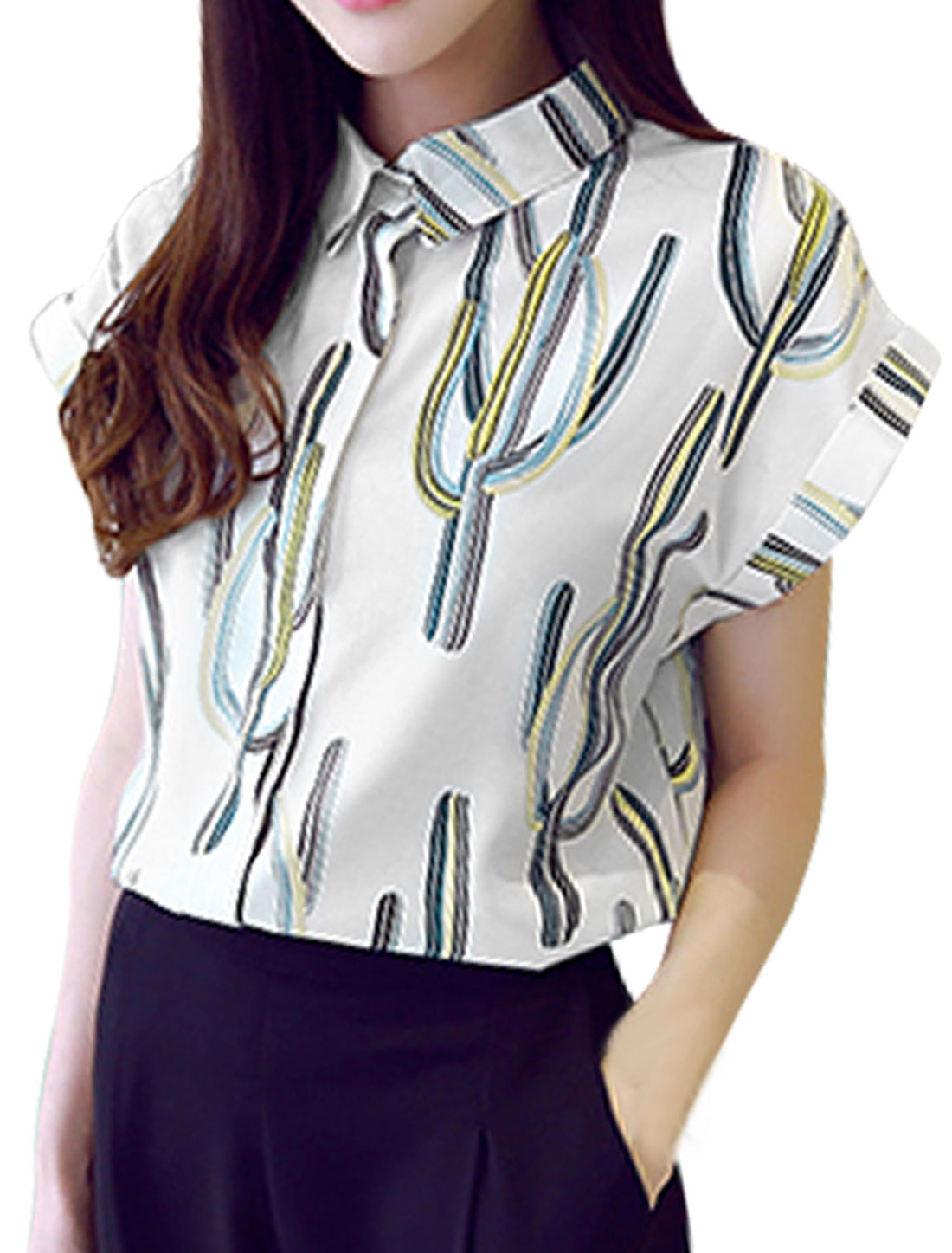 Women Point Collar Cacti Prints Short Sleeves Button Down Shirts White XS
