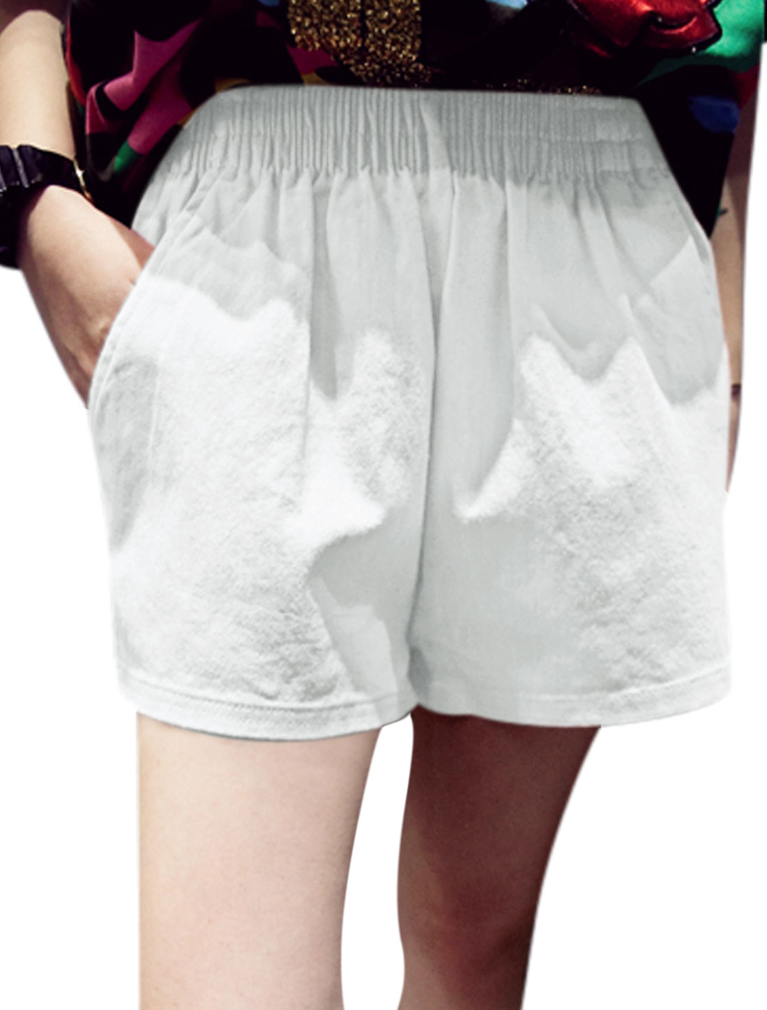 Ladies Mid Rise Elastic Waist Pockets Casual Summer Short Shorts White XS
