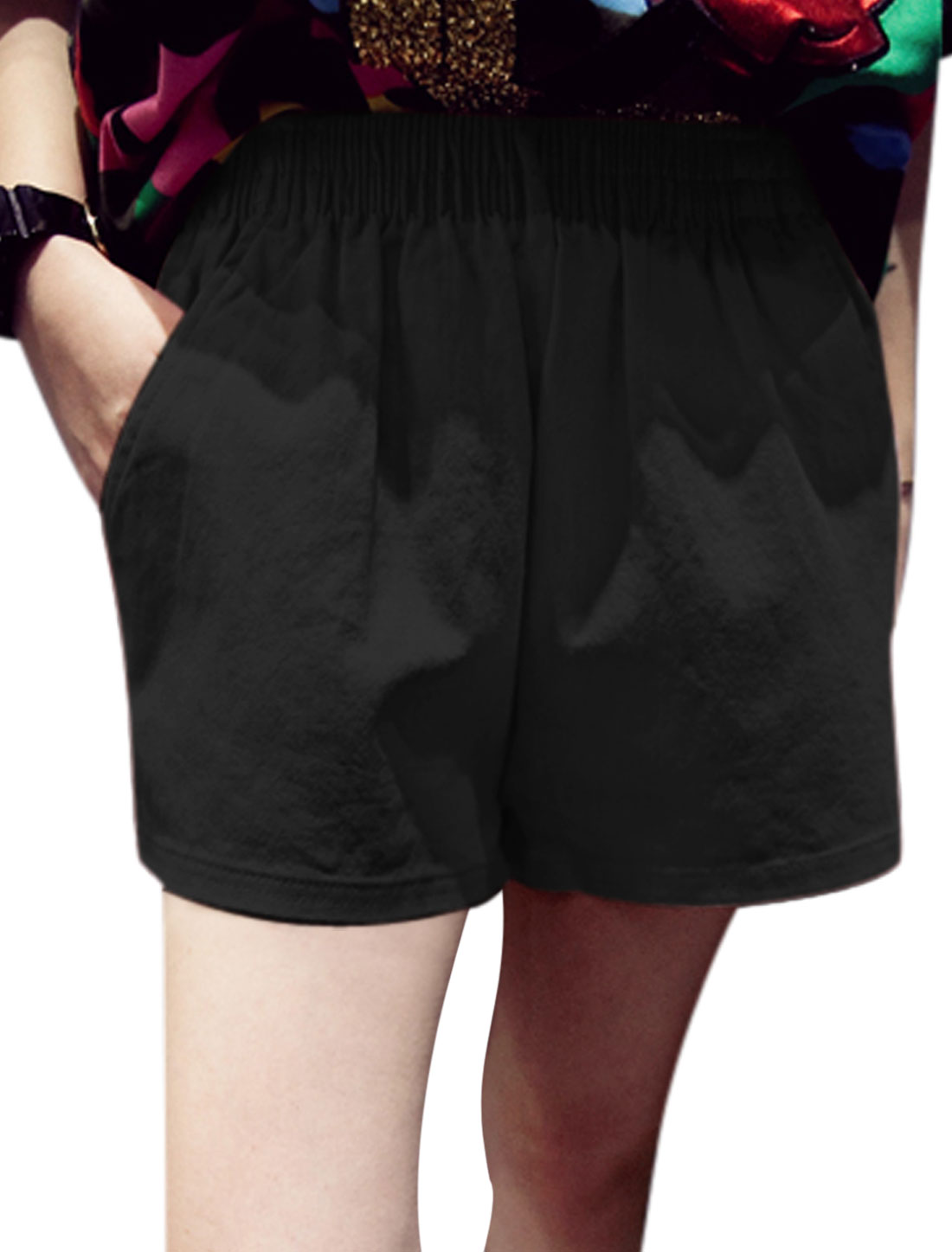 Ladies Mid Rise Elastic Waist Pockets Casual Summer Shorts Black XS