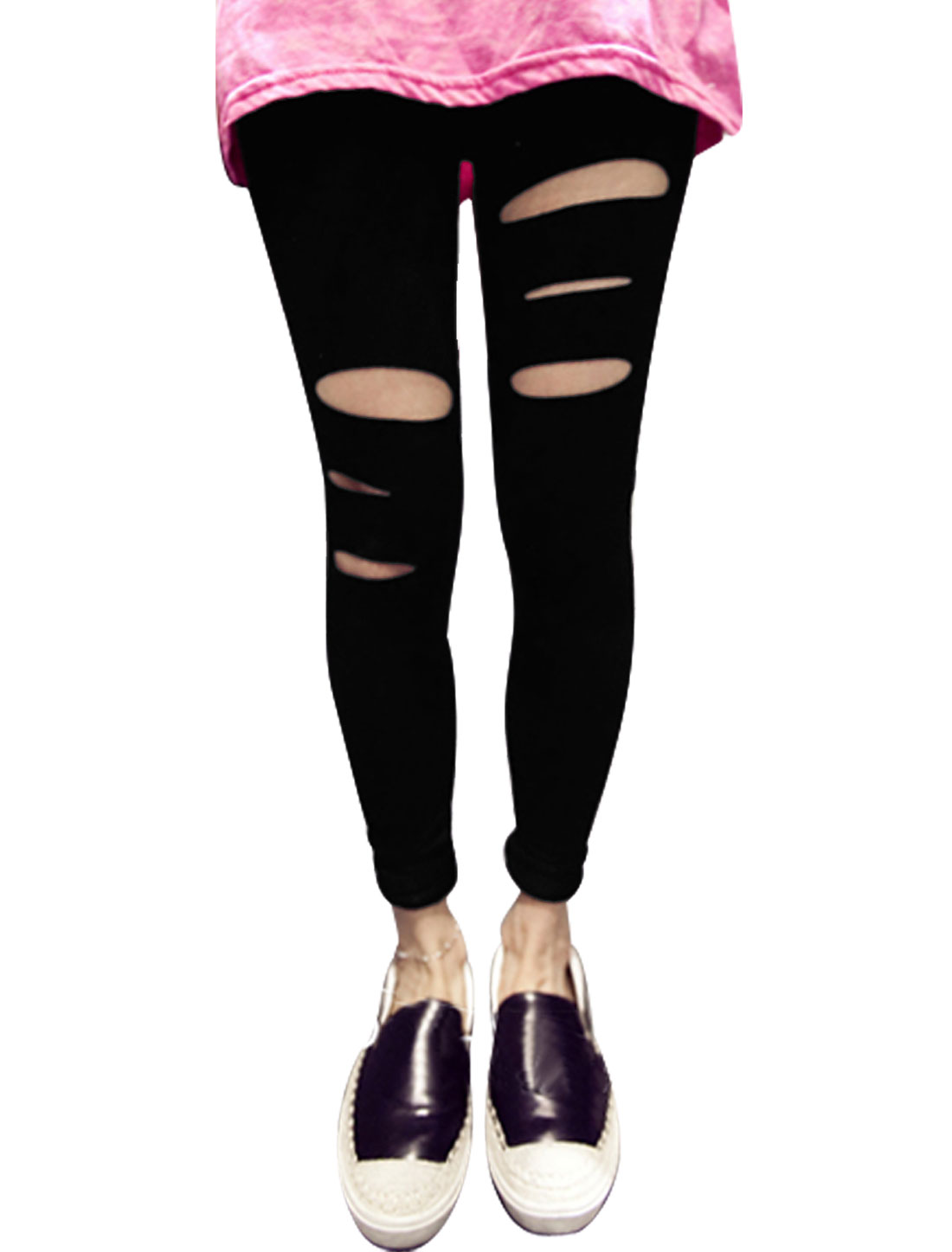 Women Mid Rise Elastic Waist Cut Out Front Summer Leggings Black XS
