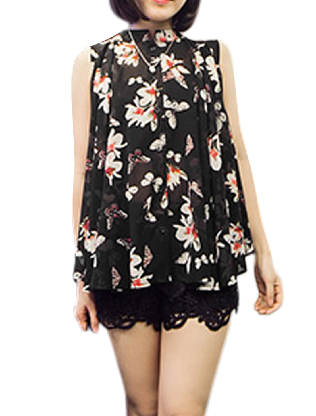 Ladies Floral Butterfly Prints Loose Fit Sleeveless Tops Black S