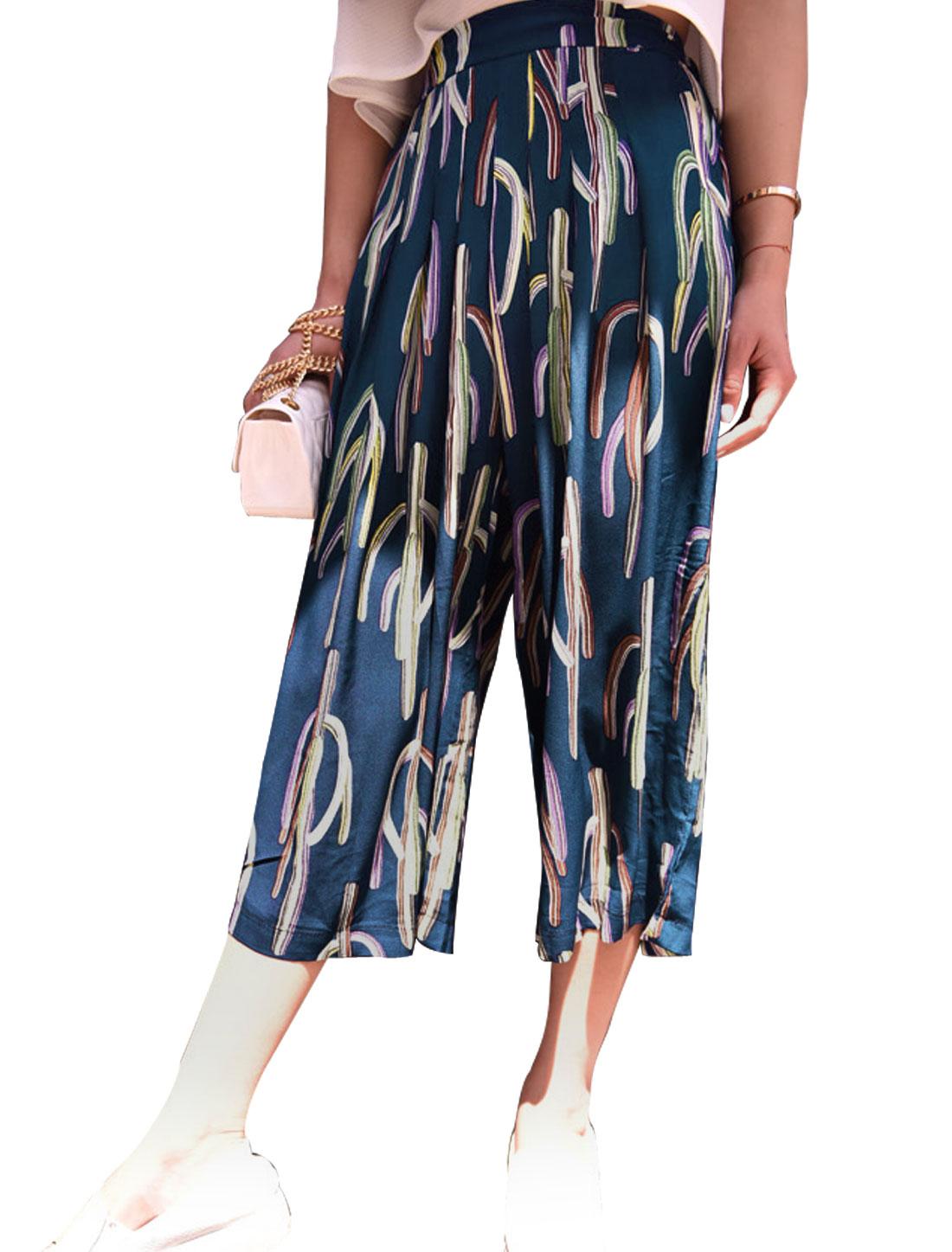 Lady Elastic Waist Cacti Prints Seam Pockets Capri Pants Navy Blue XS