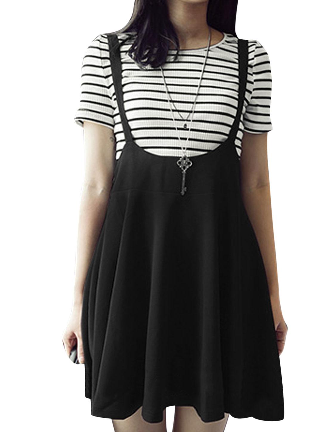 Ladies Short Sleeve Stripes T-Shirt w Suspender Skirt Set White Black XS