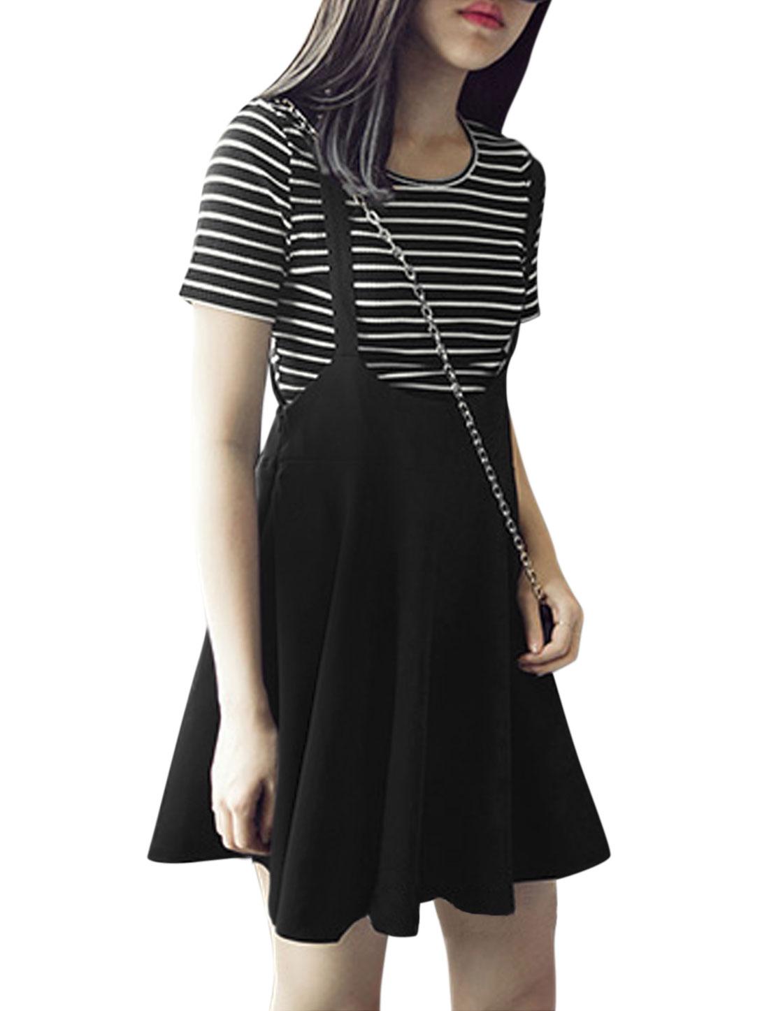 Women Round Neck Stripes T Shirts w Casual Suspender Skirt Set Black XS