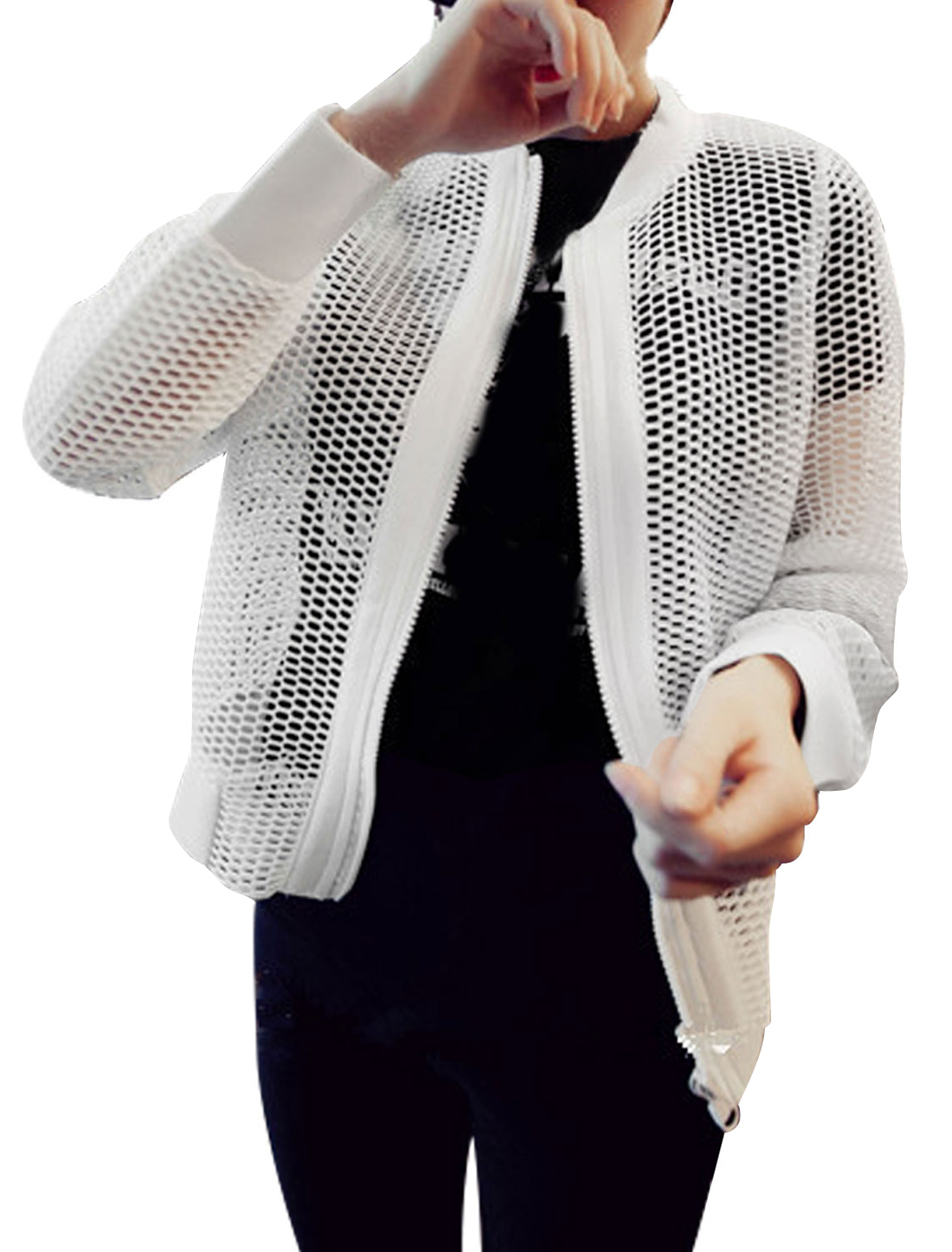 Woman Hollow Out Stand Collar Zip Up See Through Long Sleeves Jacket White XS