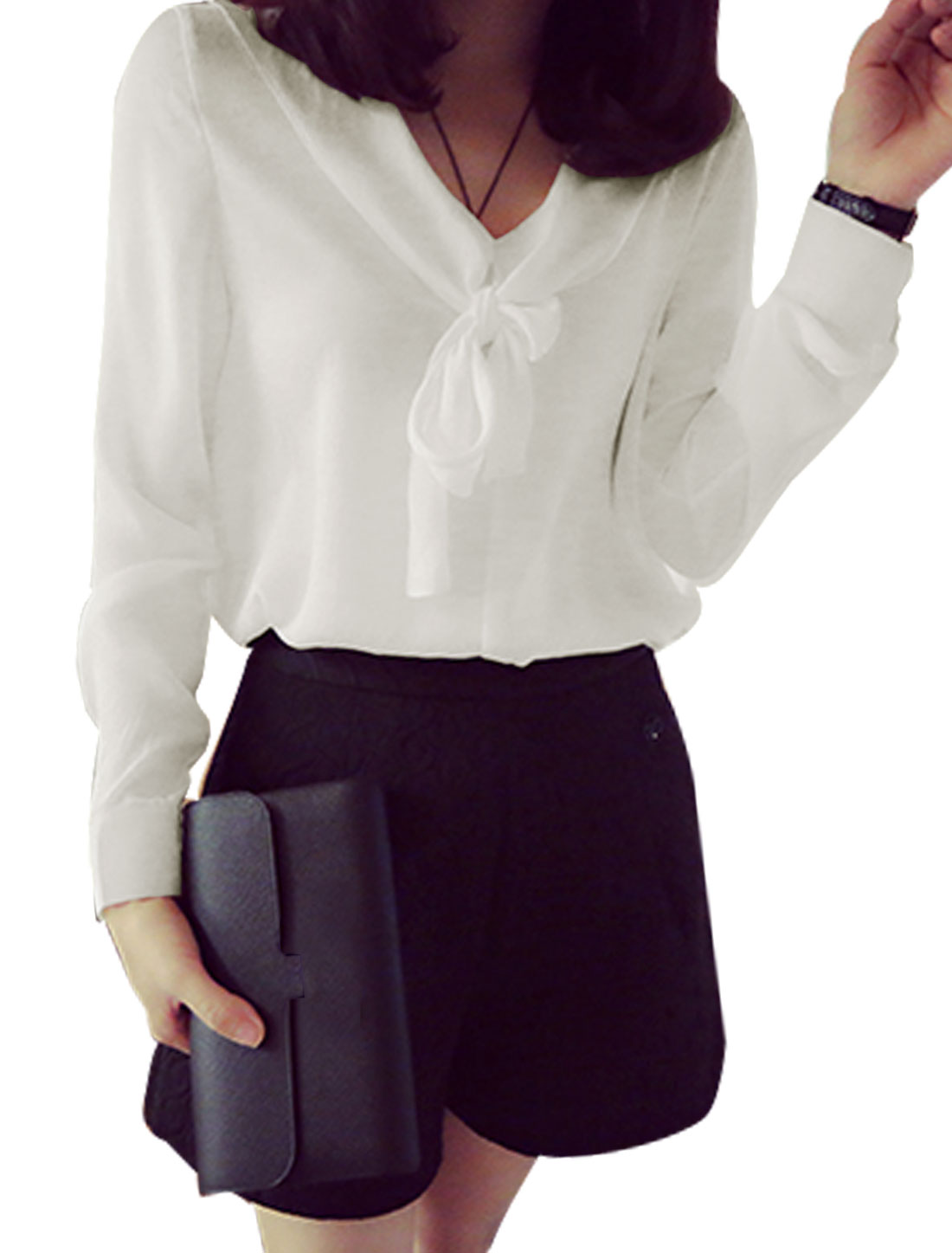 Women V Neck Long Sleeves Self Tie Front Casual Shirts White S