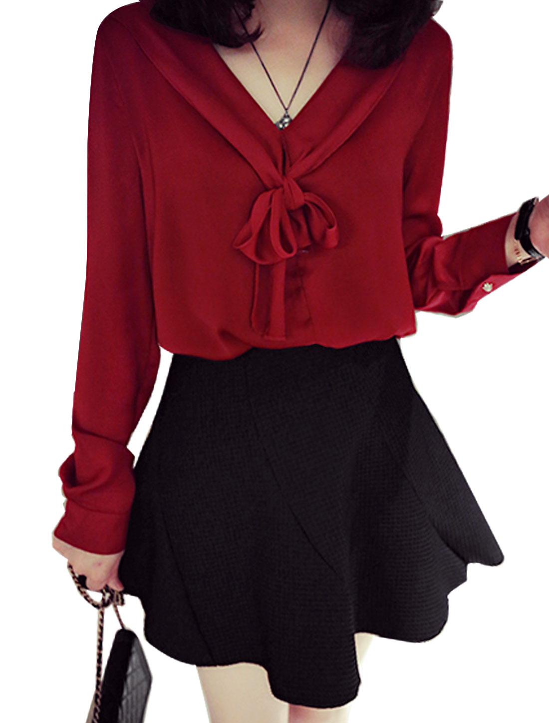Women V Neckline Long Sleeves Pussy Bow Shirts Burgundy S