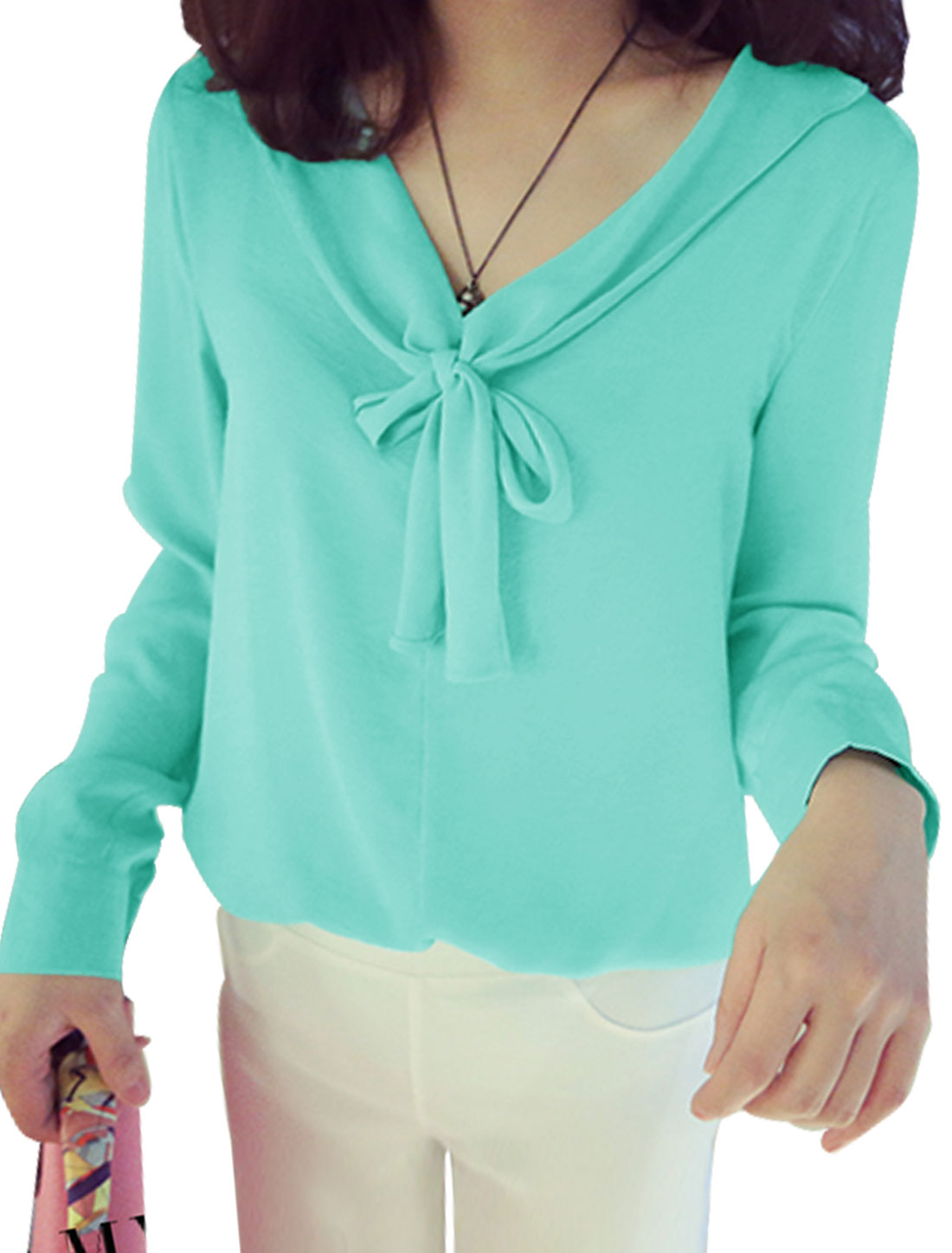 Ladies V Neck Long Sleeves Button Cuffs Casual Shirts Mint S