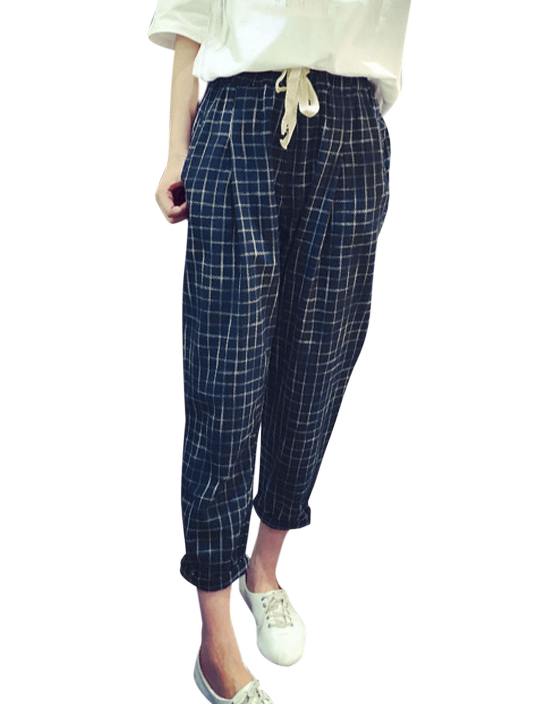 Ladies Elastic Waist Mid Rise Plaids Cropped Trousers Navy Blue XS