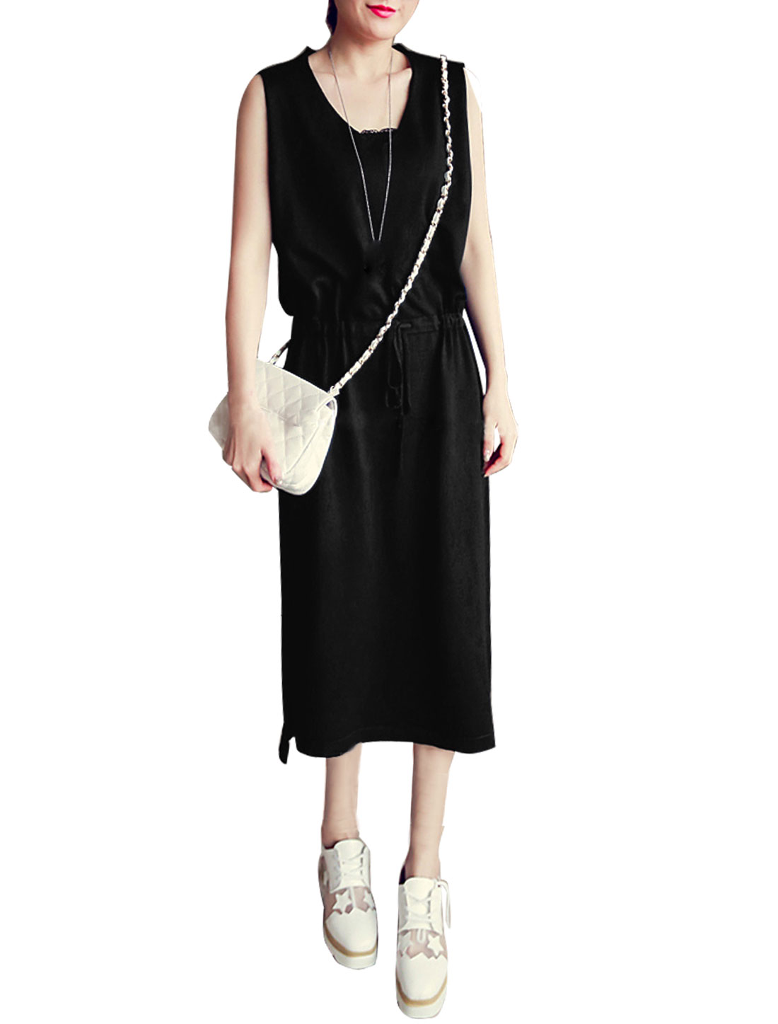 Ladies V Neck Sleeveless Split Sides Unlined Dresses Black XS