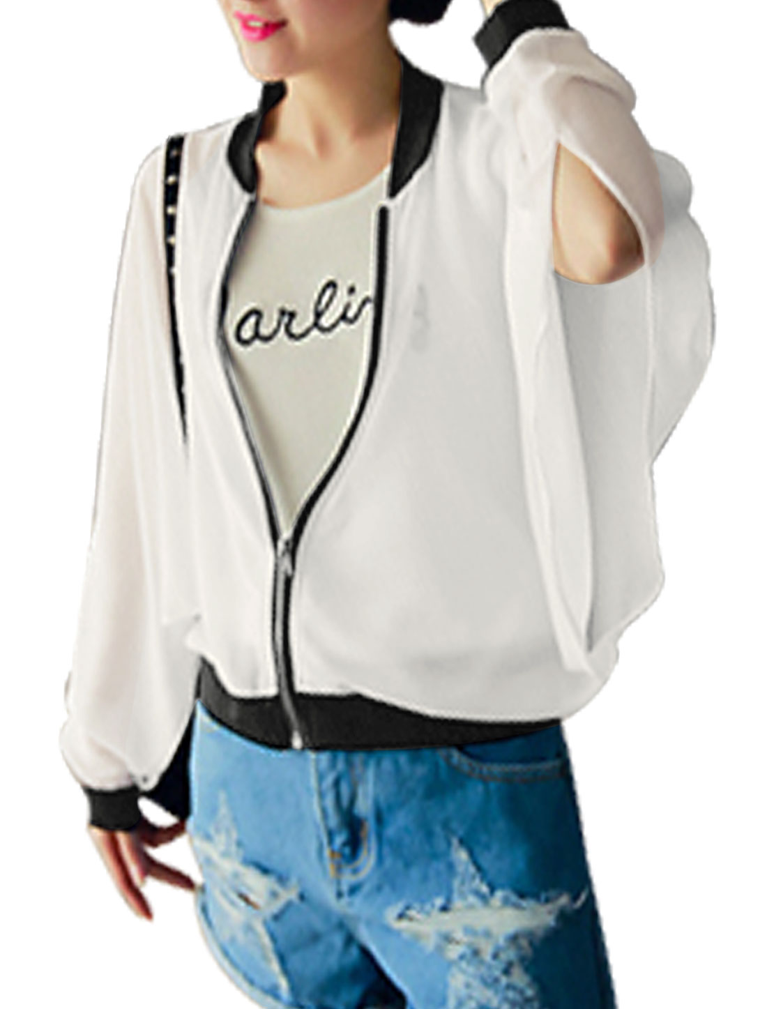 Women Stand Collar Long Batwing Sleeves See Through Jackets White XS
