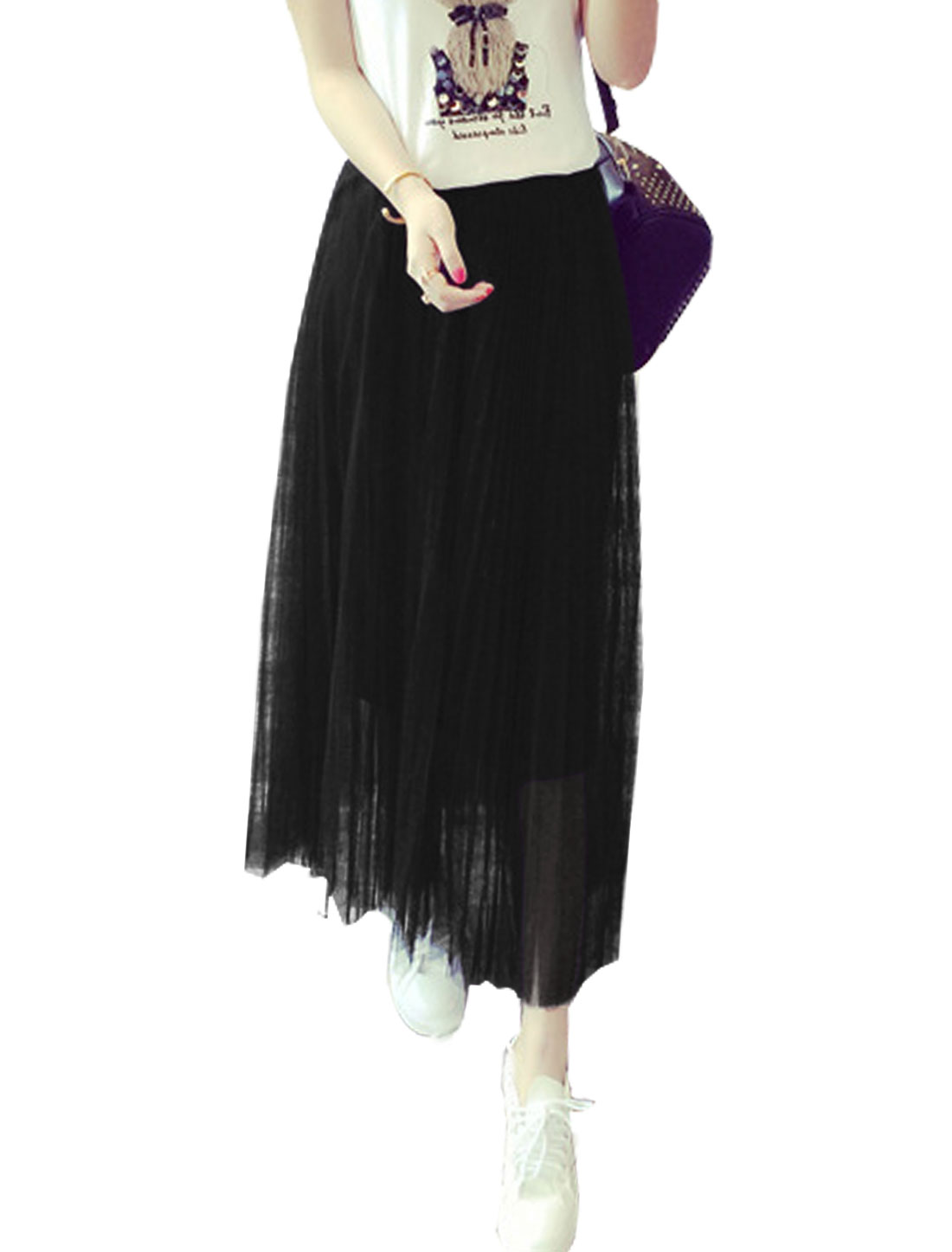 Women Mid Rise Elastic Waist Fully Lined Casual Mesh Skirt Black S