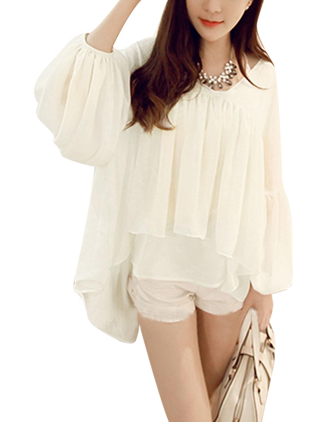 Woman Long Sleeves Tiered High Low Hem Chiffon Tunic Top White XS