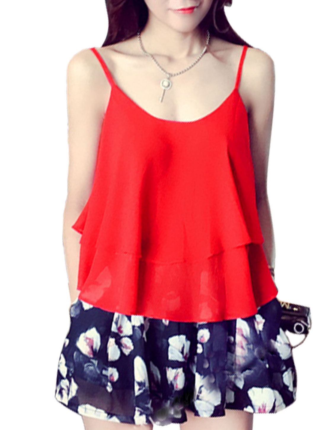 Ladies Scoop Neck Straps Tiered Chiffon Cami Tank Tops Red S